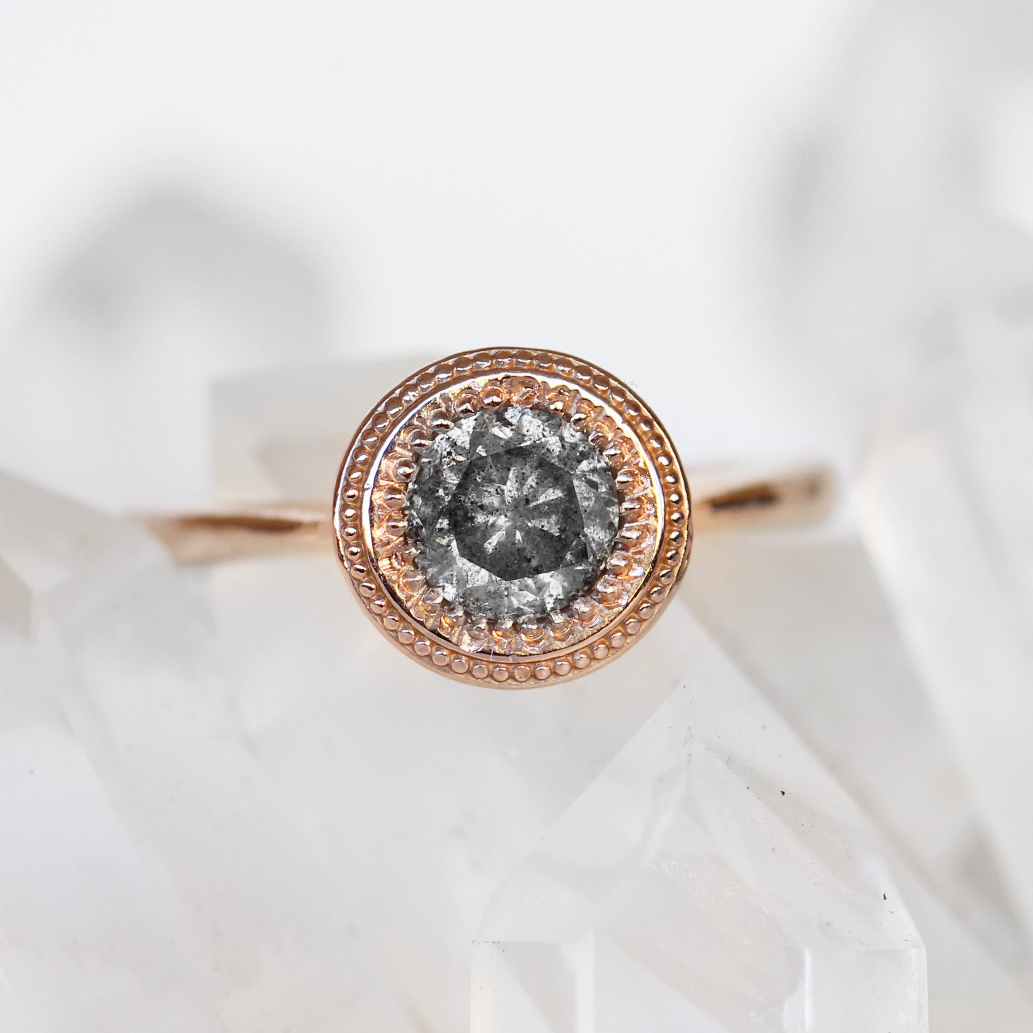Martha Ring with a .93 carat Celestial Diamond in 10k Gold - Ready to Size and Ship - Salt & Pepper Celestial Diamond Engagement Rings and Wedding Bands  by Midwinter Co.