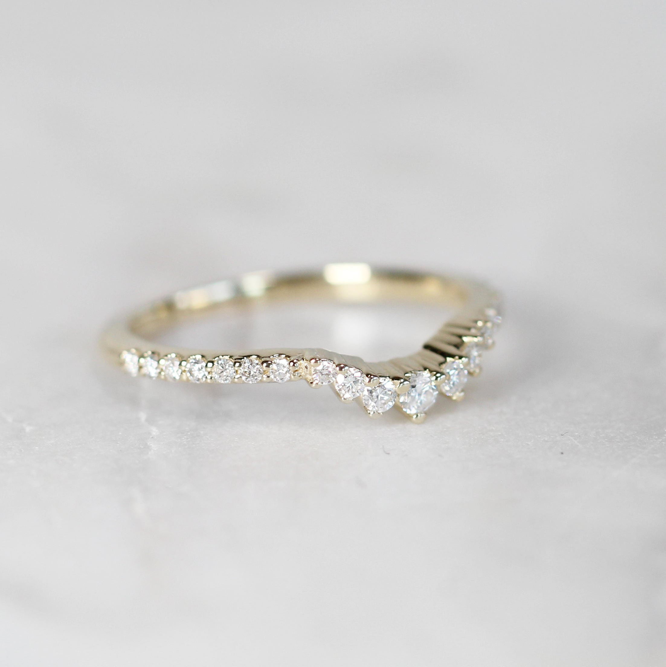 Maureen - Custom Designed Curved Diamond Wedding Stacking Band - Made to order - Salt & Pepper Celestial Diamond Engagement Rings and Wedding Bands  by Midwinter Co.