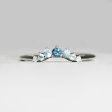 Custom Designed Curved Diamond Wedding Stacking Band - Blue Ombre Fade - made to order