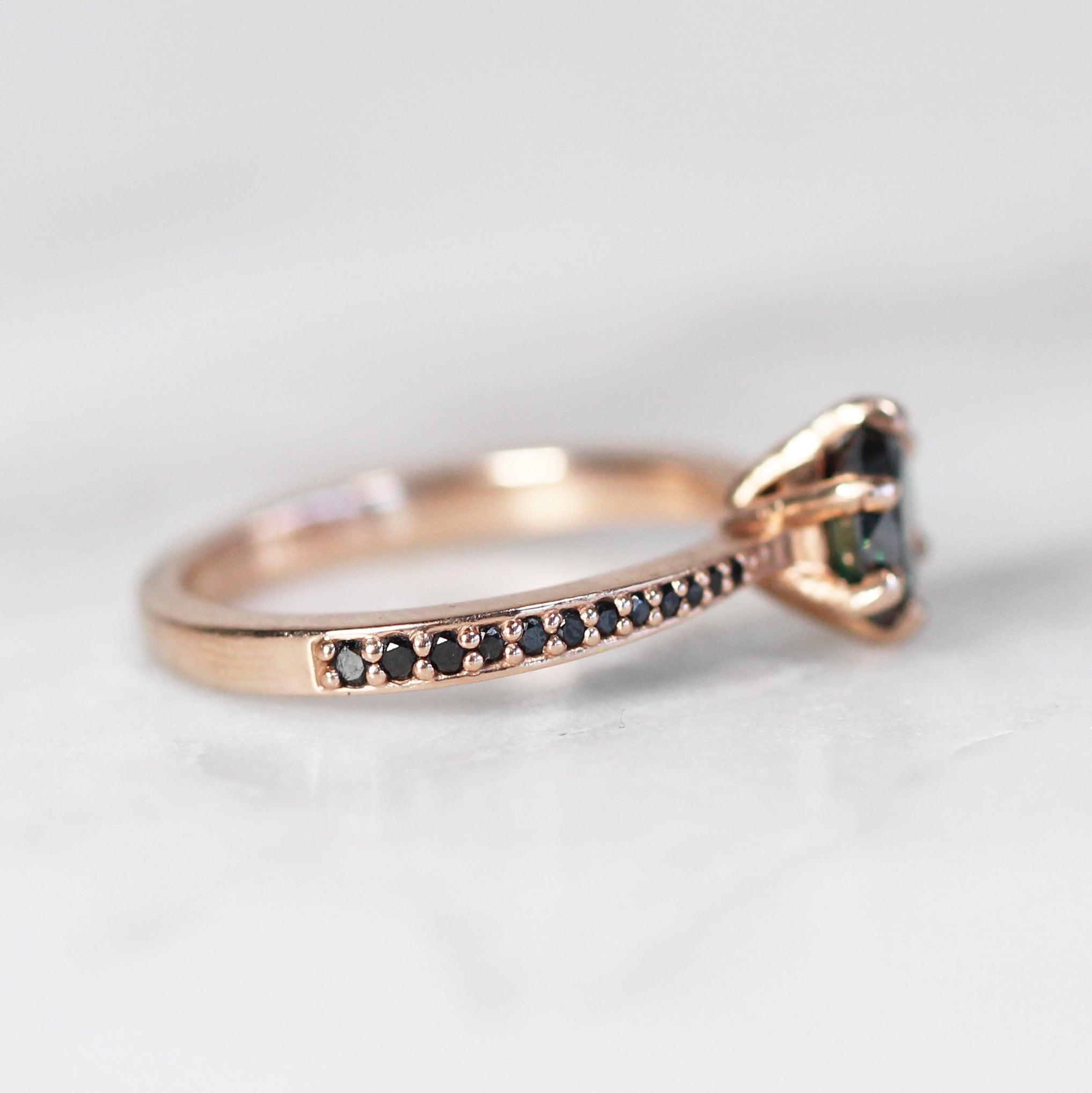 Maxine Ring with .70ct Moissanite in 10k Rose Gold - Custom - Salt & Pepper Celestial Diamond Engagement Rings and Wedding Bands  by Midwinter Co.