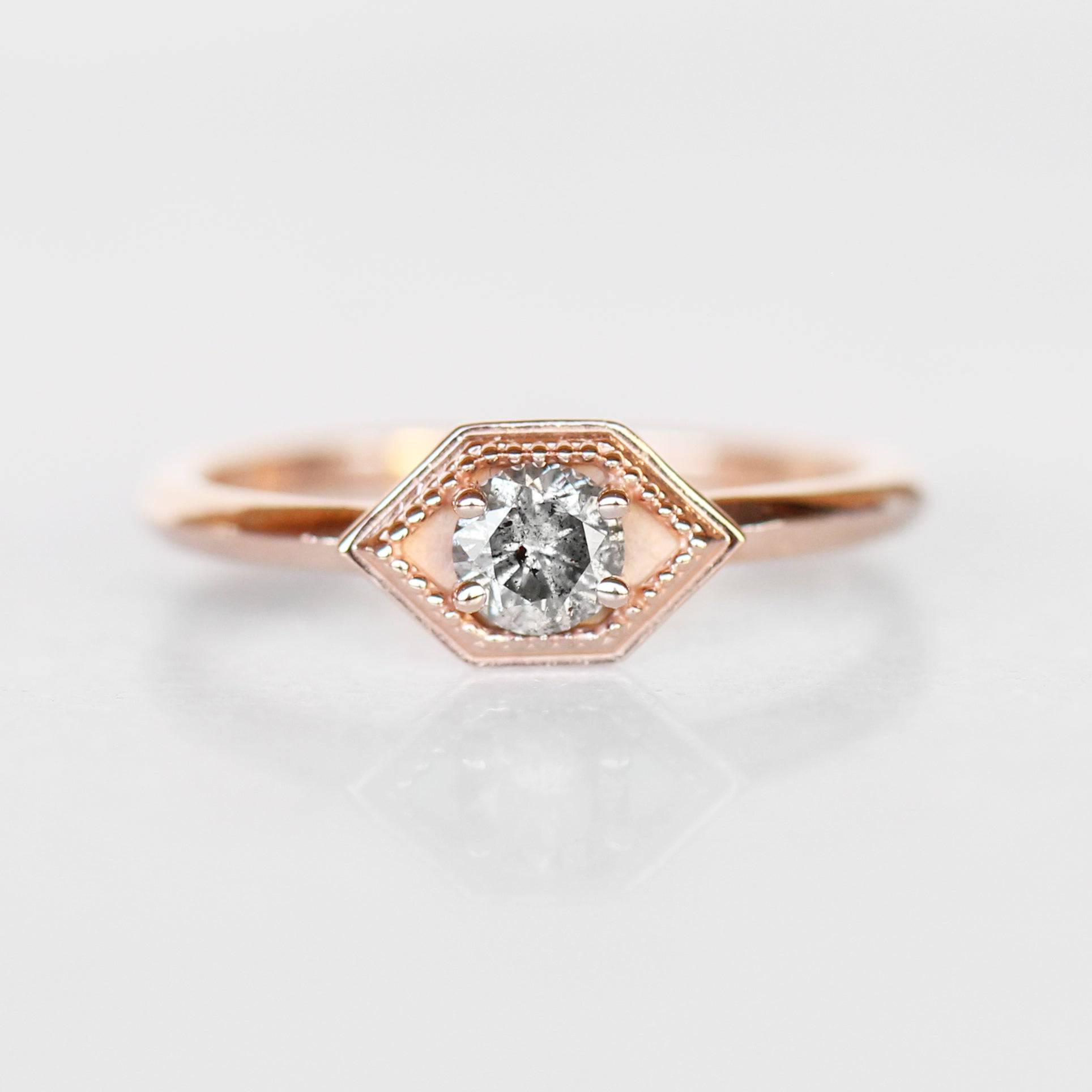 Melissa Ring with Gray Celestial Diamond in 10k Rose Gold - Made to Order - Celestial Diamonds ® by Midwinter Co.