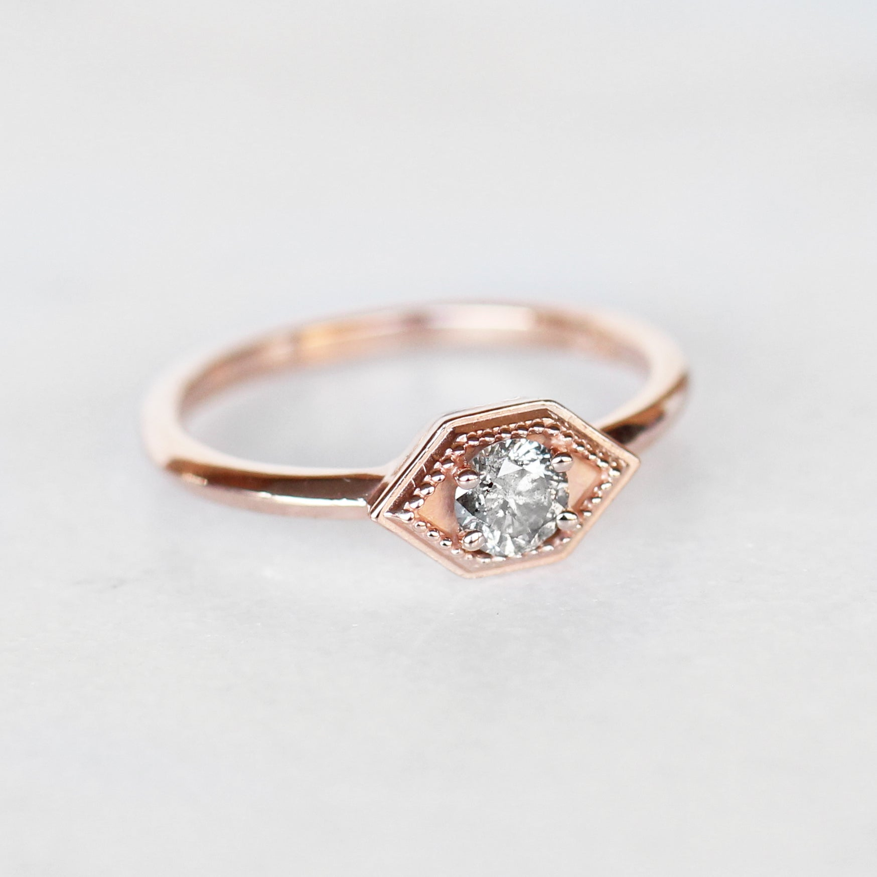 Melissa Ring with Gray Celestial Diamond in 10k Rose Gold - Made to Order - Midwinter Co. Alternative Bridal Rings and Modern Fine Jewelry
