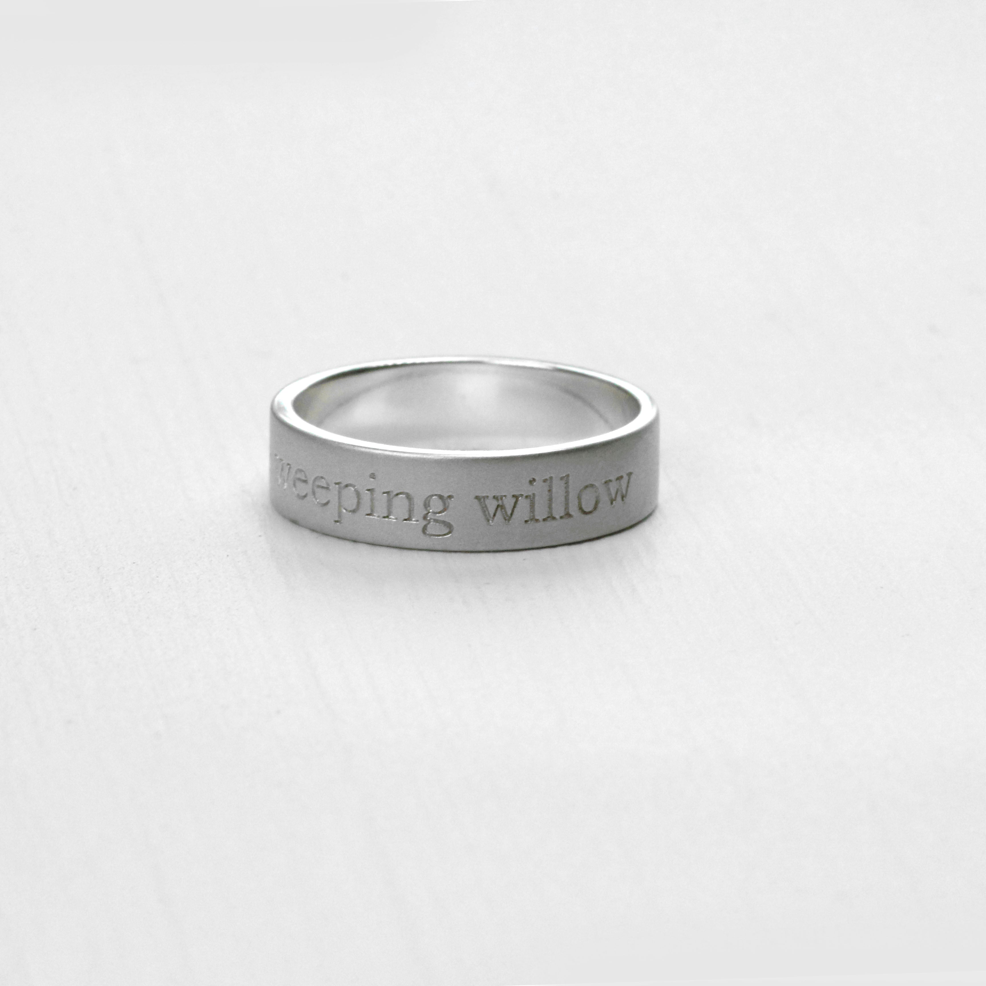 Engraved Wedding Band Ring 14k Gold Wedding Band - Salt & Pepper Celestial Diamond Engagement Rings and Wedding Bands  by Midwinter Co.