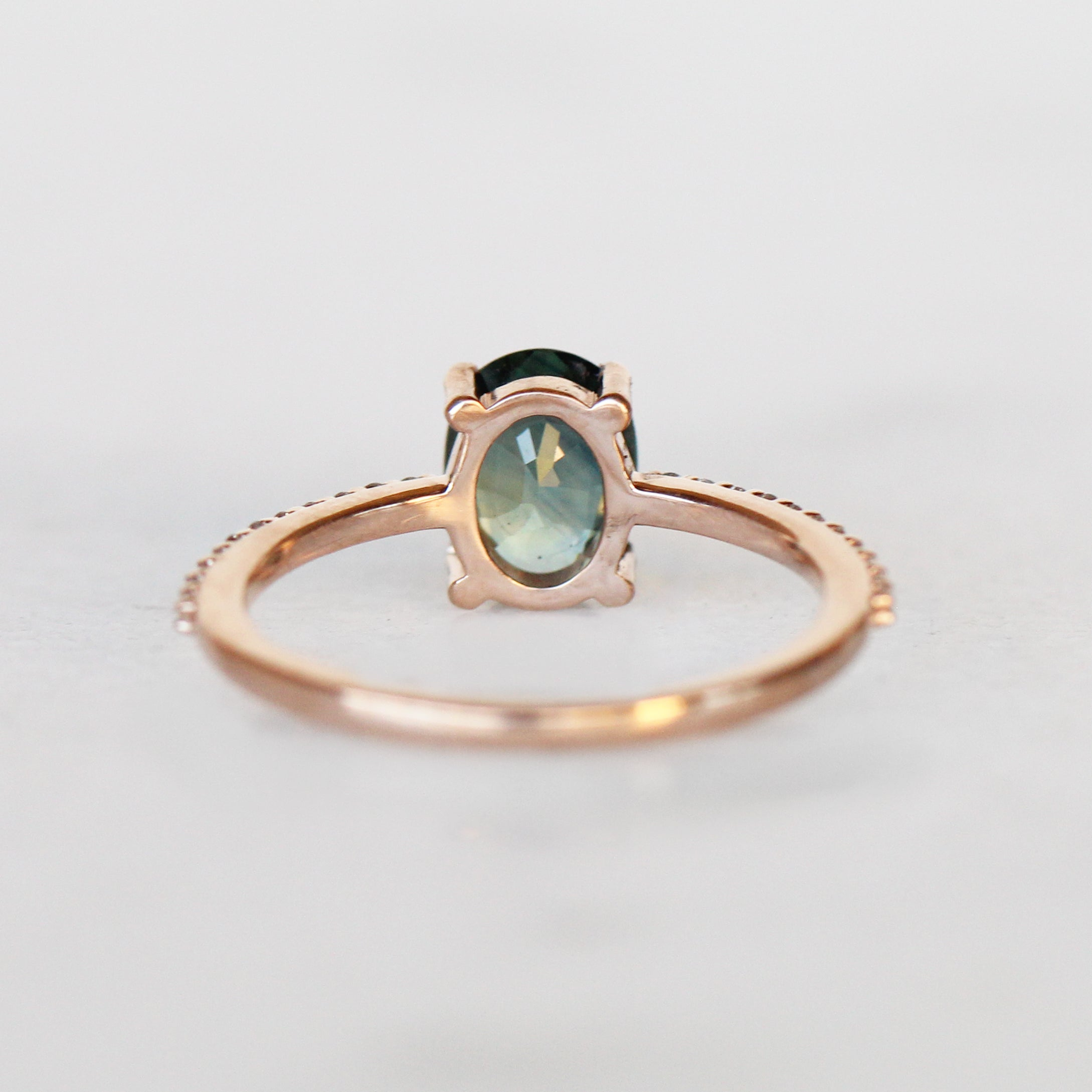 Mia Ring with 1.45ct Oval Sapphire in 10k Rose Gold - Ready to Size and Ship - Celestial Diamonds ® by Midwinter Co.