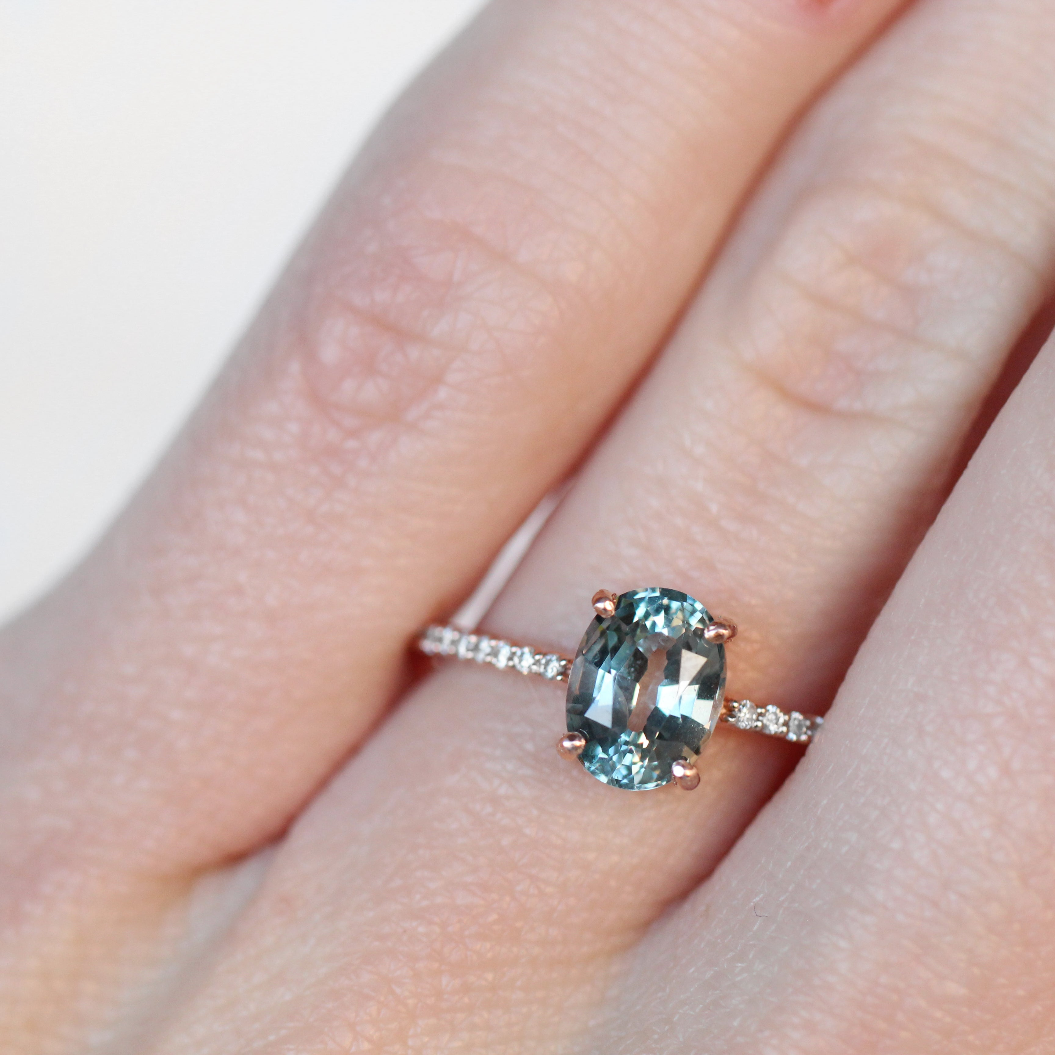 Mia Ring with 2.11 Carat Oval Blue green teal sapphire in 10k Rose Gold- Ready to Size and Ship - Celestial Diamonds ® by Midwinter Co.