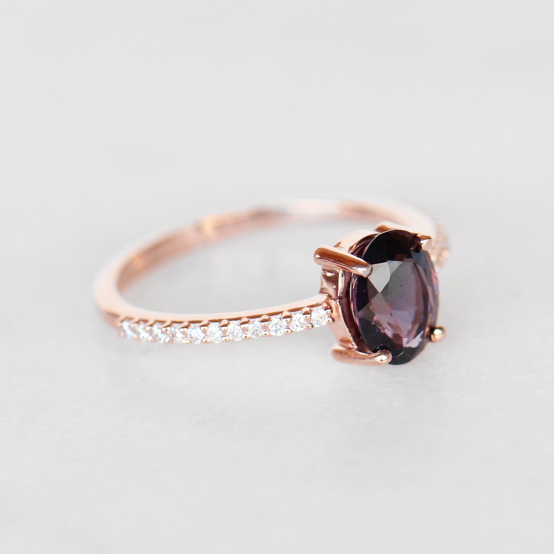 Mia Ring with 1.41 Carat Oval Gray Purple Spinel in 10k Rose Gold - Ready to Size and Ship - Celestial Diamonds ® by Midwinter Co.