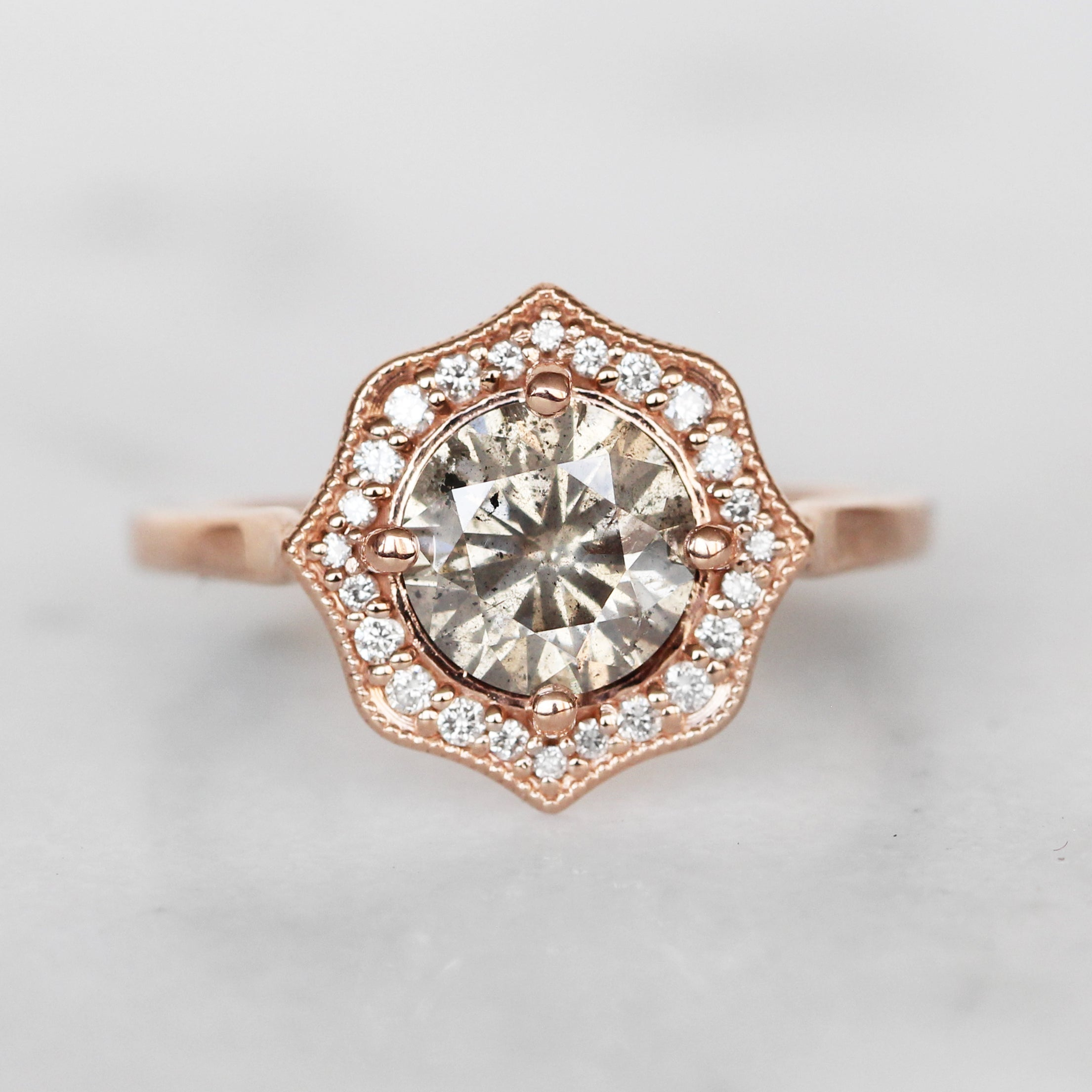 Mila Ring with GIA Certified 1.57 Carat Round Celestial Diamond in 14k Rose Gold - Ready to Size and Ship - Celestial Diamonds ® by Midwinter Co.