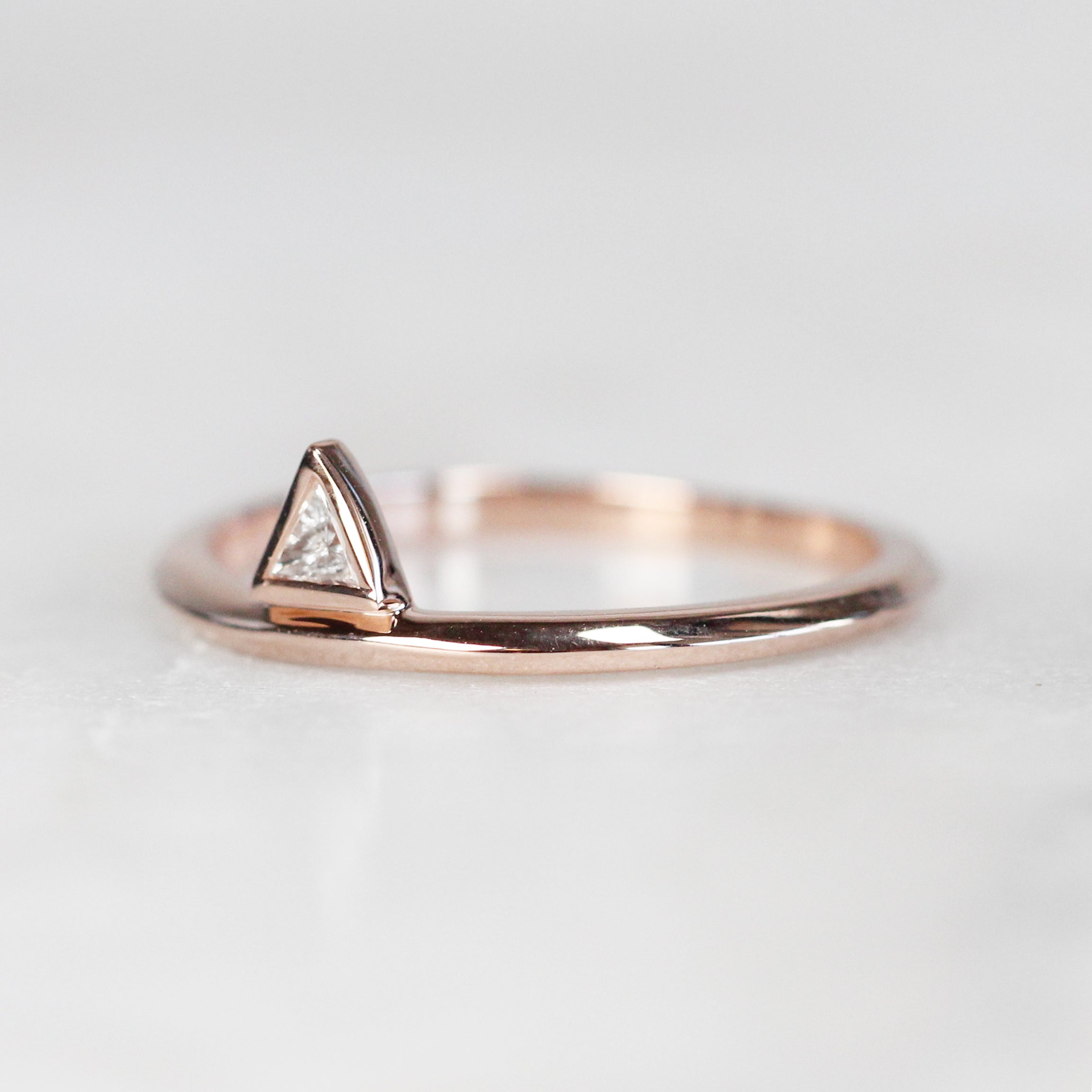 Minimal Diamond Triangle Stacking Ring in 14k Rose Gold - Ready to Size and Ship - Midwinter Co. Alternative Bridal Rings and Modern Fine Jewelry