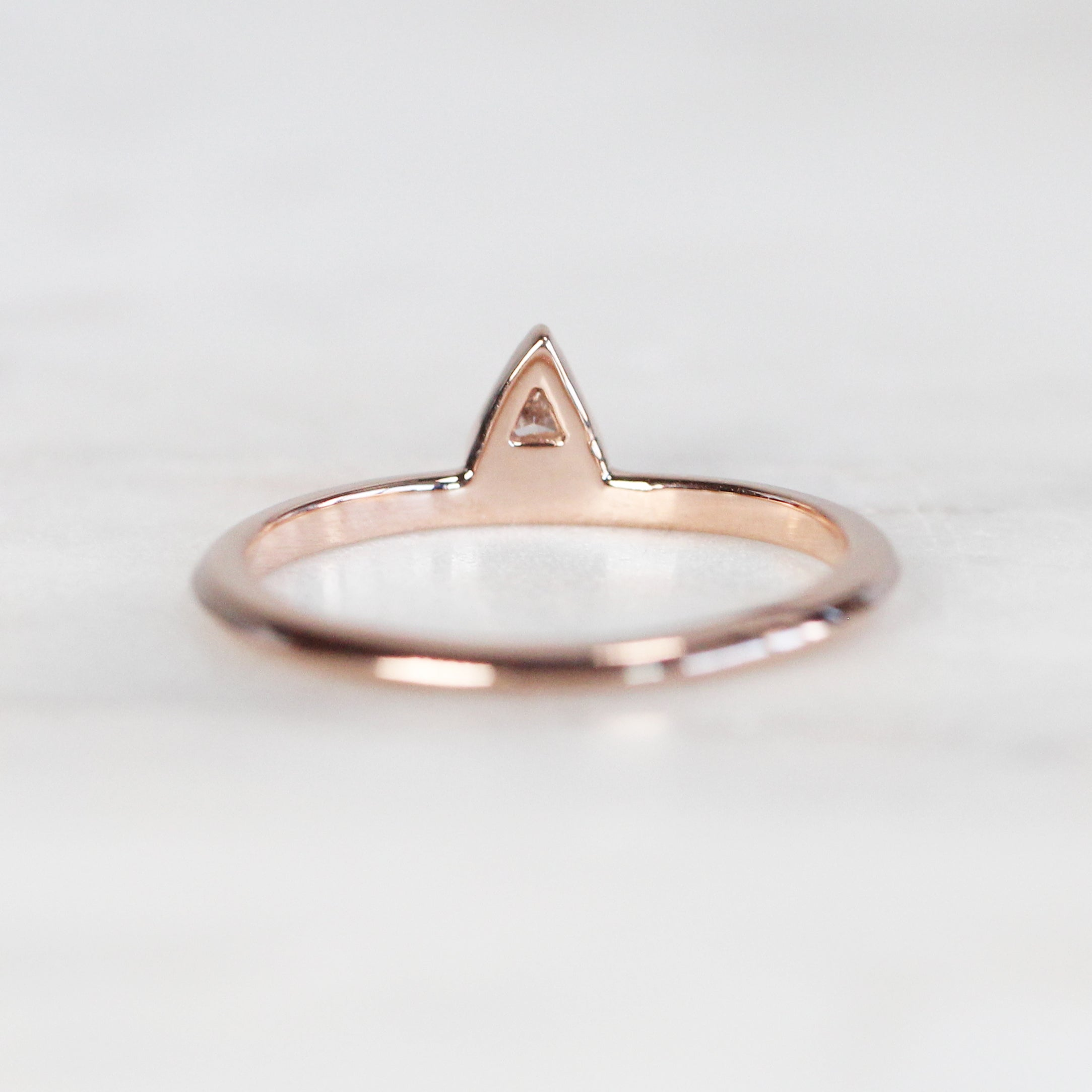 Minimal Diamond Triangle Stacking Ring in 14k Rose Gold - Ready to Size and Ship - Salt & Pepper Celestial Diamond Engagement Rings and Wedding Bands  by Midwinter Co.