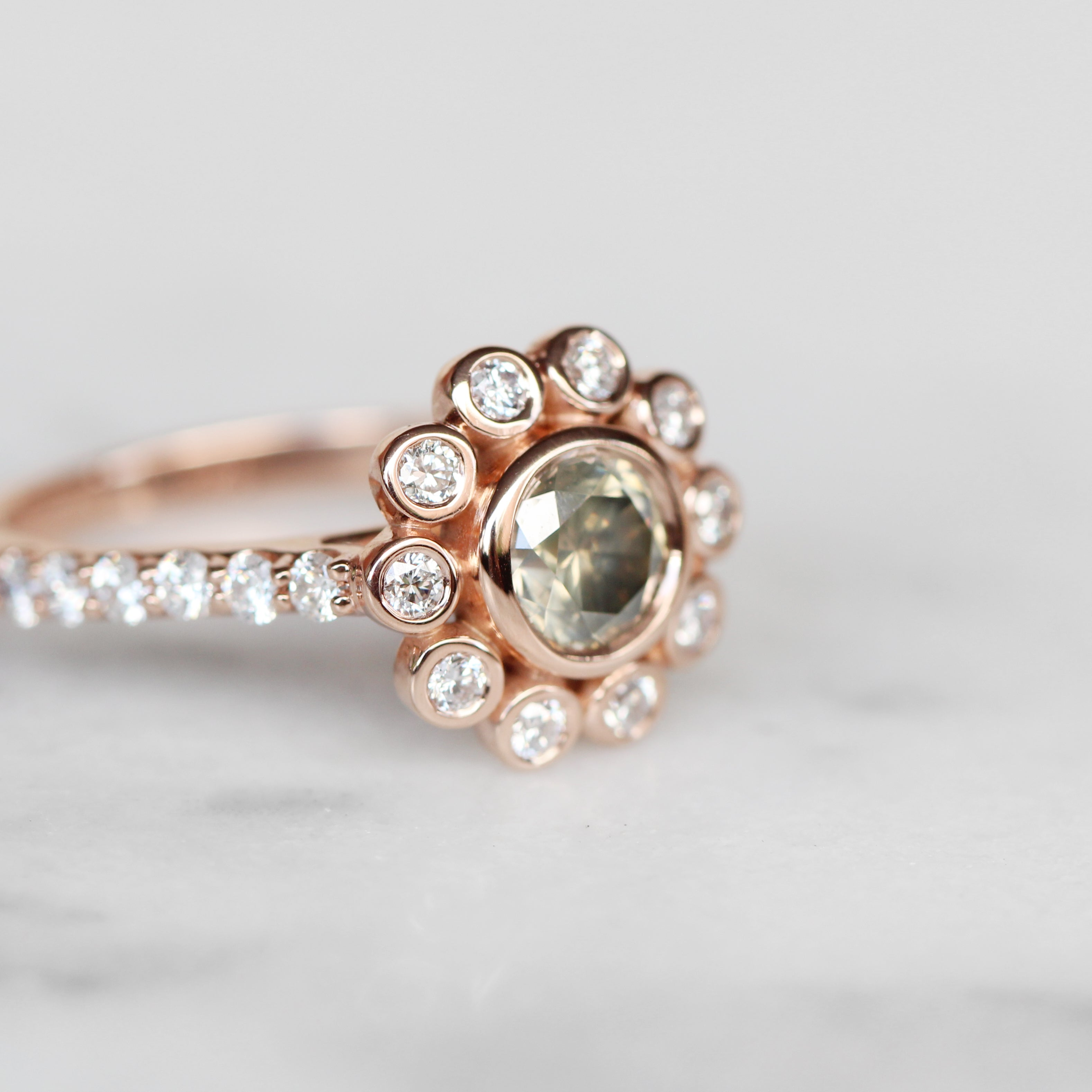 Minnie Antique Style bezel ring with a 1.02 carat certified diamond in 10k rose gold - ready to size and ship - Salt & Pepper Celestial Diamond Engagement Rings and Wedding Bands  by Midwinter Co.