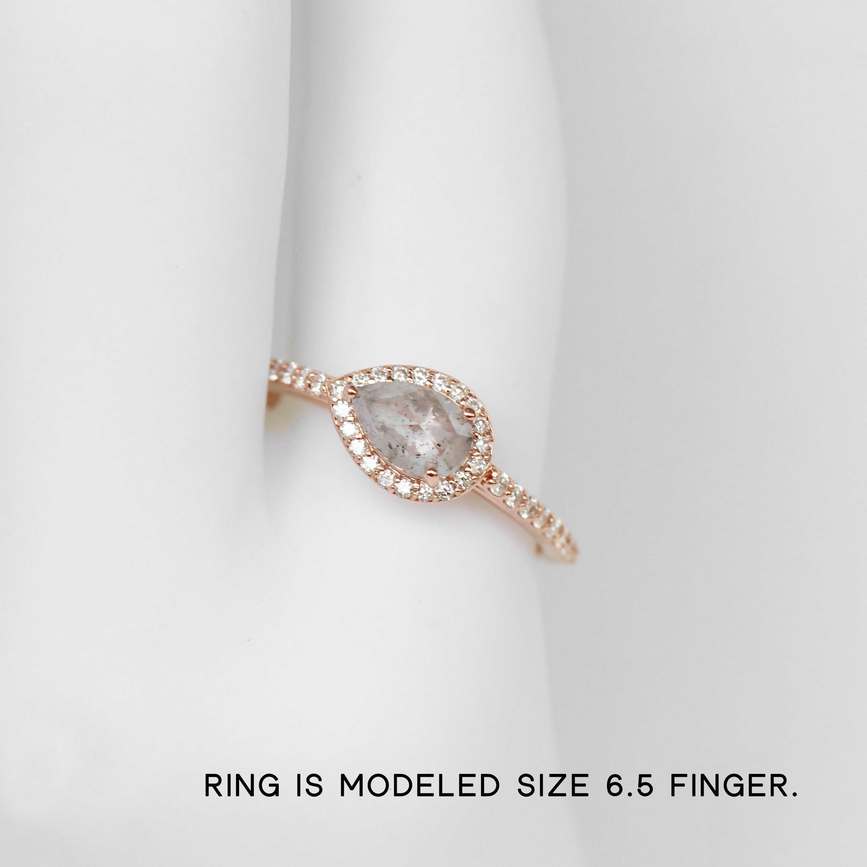 Chloe Ring with a Pear Sapphire in 10k Rose Gold - Ready to Size and Ship