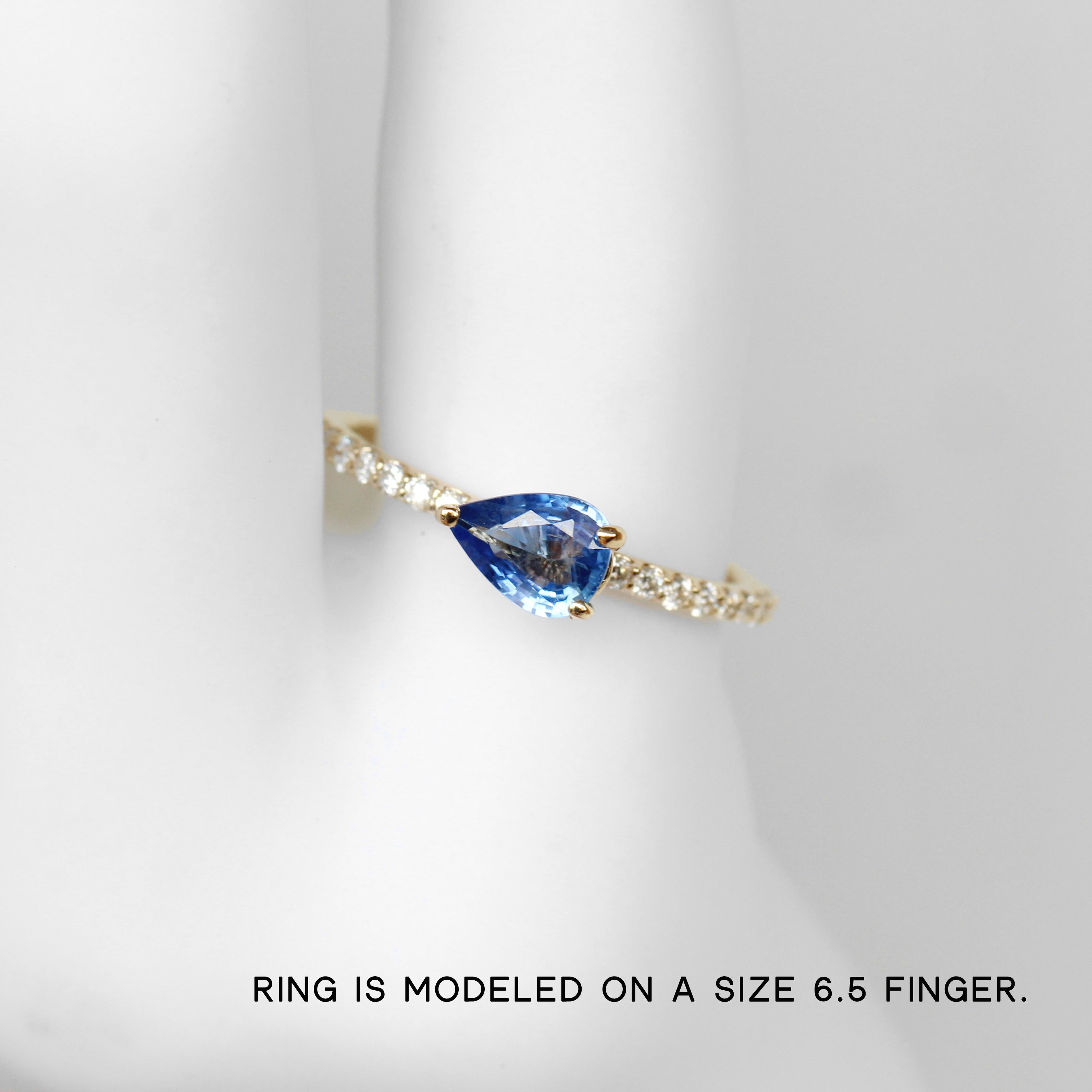 Raine Ring with a Pear Sapphire in 10k Yellow Gold - Ready to Size and Ship