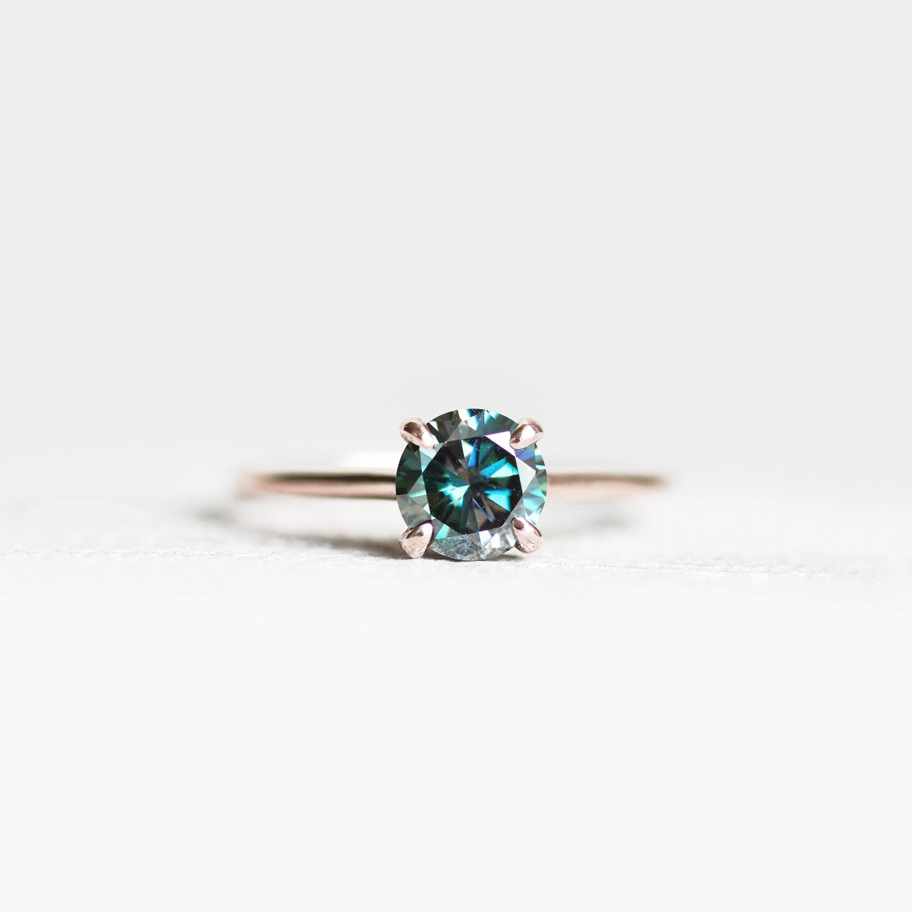 Dark Black Blue Moissanite Solitaire Ring in your choice of metal - Salt & Pepper Celestial Diamond Engagement Rings and Wedding Bands  by Midwinter Co.