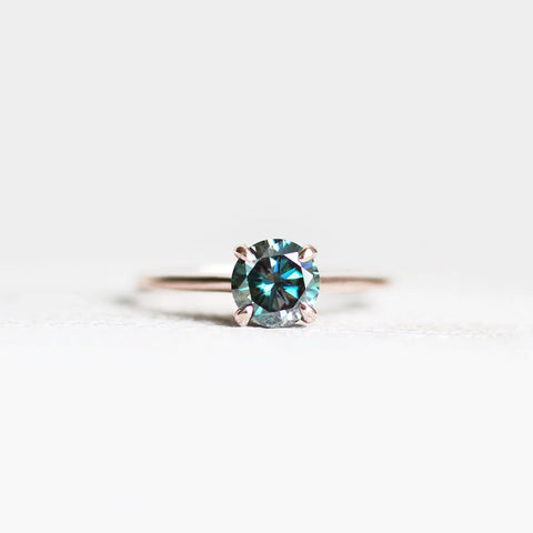 Dark Black Blue Moissanite Solitaire Ring in your choice of metal