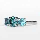 Black Blue Moissanite with London Blue Topaz in 10k White & Yellow Gold - Ready to size and ship