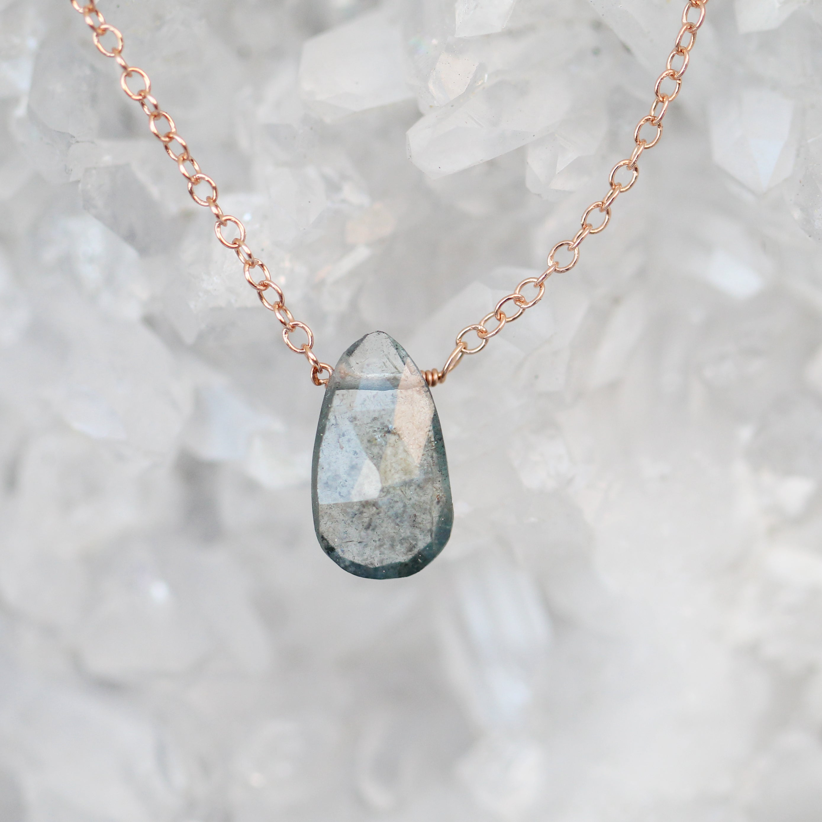"Mossy Aquamarine Teardrop Necklace on a 14k Gold Fill 18"" Chain - Midwinter Co. Alternative Bridal Rings and Modern Fine Jewelry"