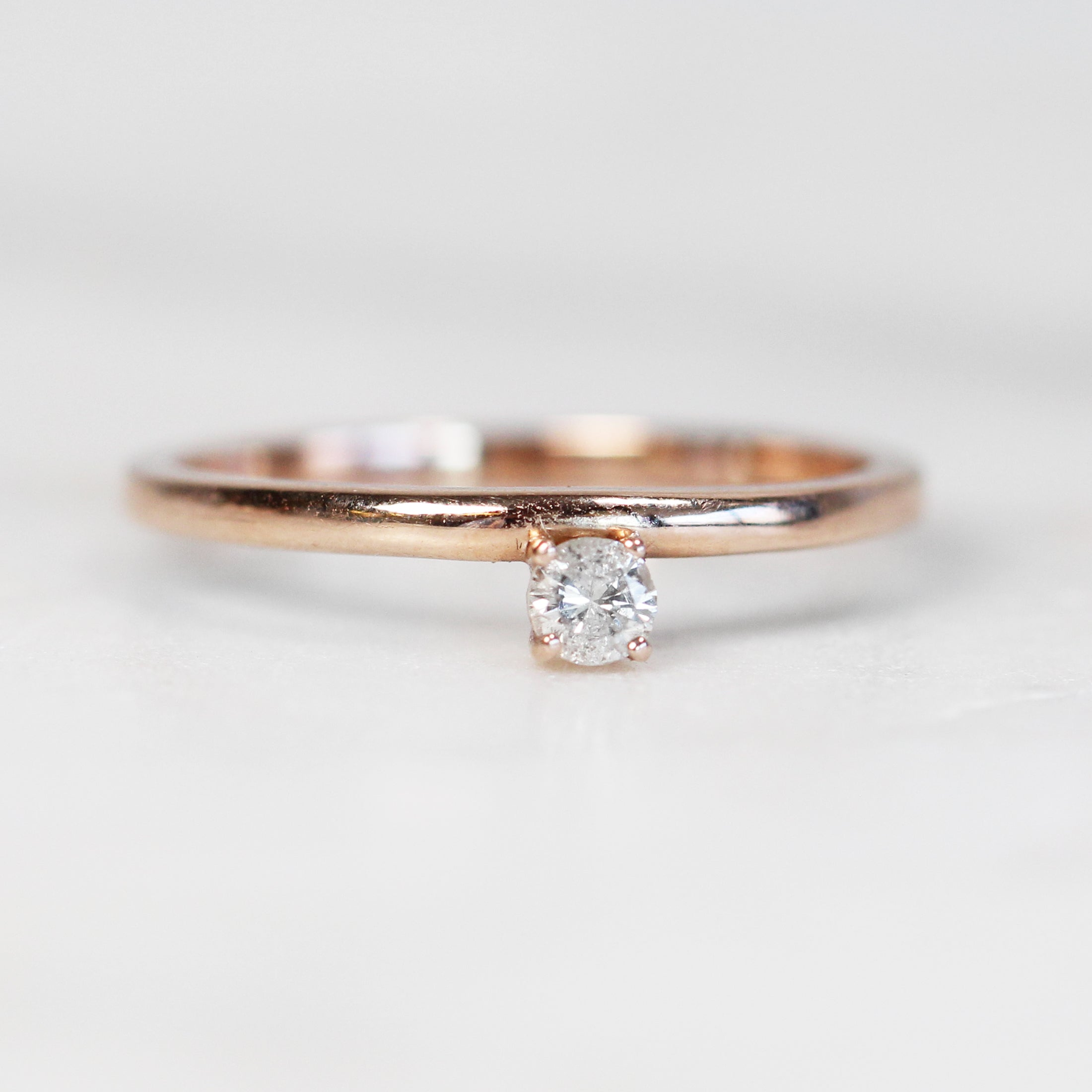 Najeal Ring - Asymmetrical Solitaire Diamond Ring in 14k Rose Gold - Salt & Pepper Celestial Diamond Engagement Rings and Wedding Bands  by Midwinter Co.