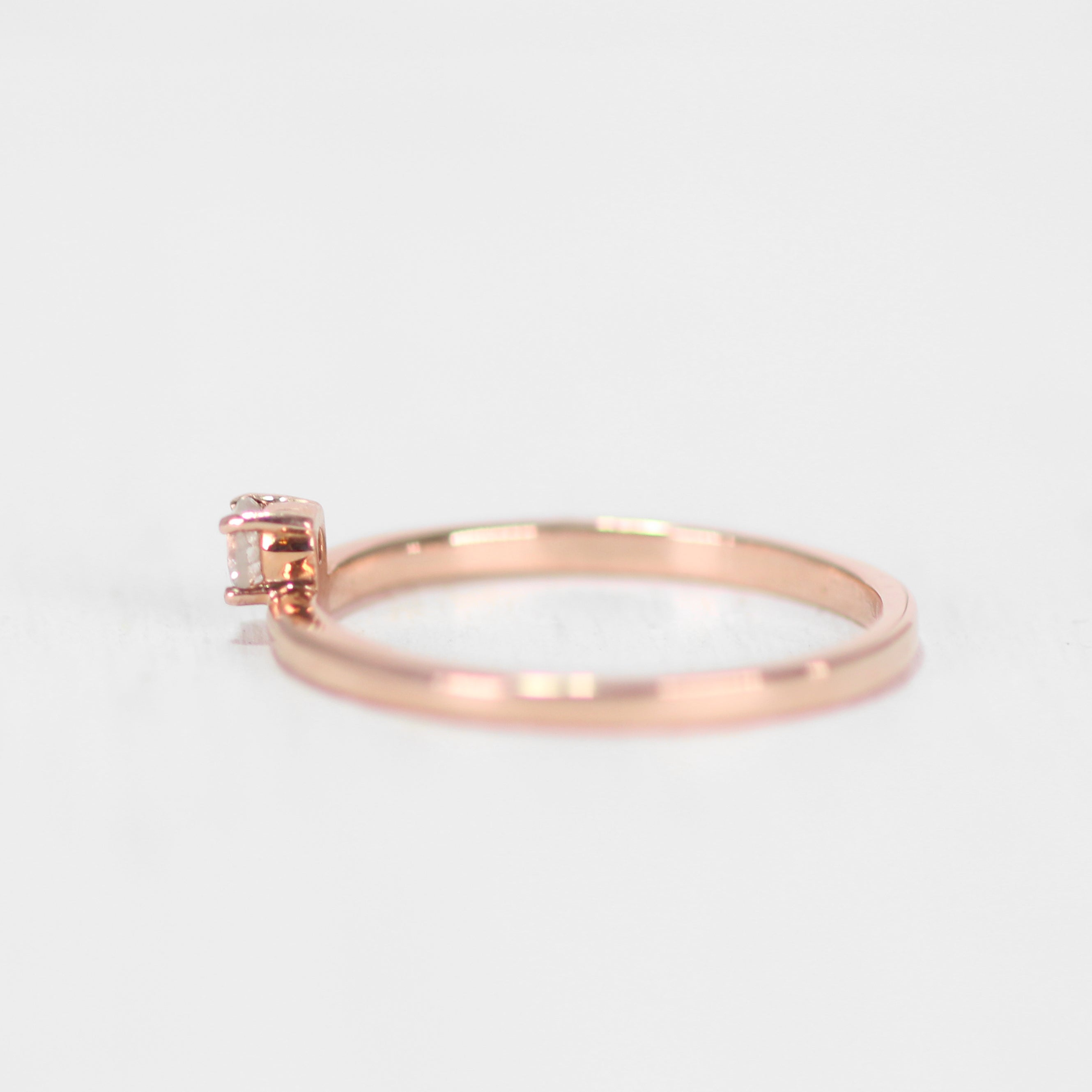 Najeal Ring - Asymmetrical Solitaire Diamond Ring in 14k Rose Gold - Midwinter Co. Alternative Bridal Rings and Modern Fine Jewelry