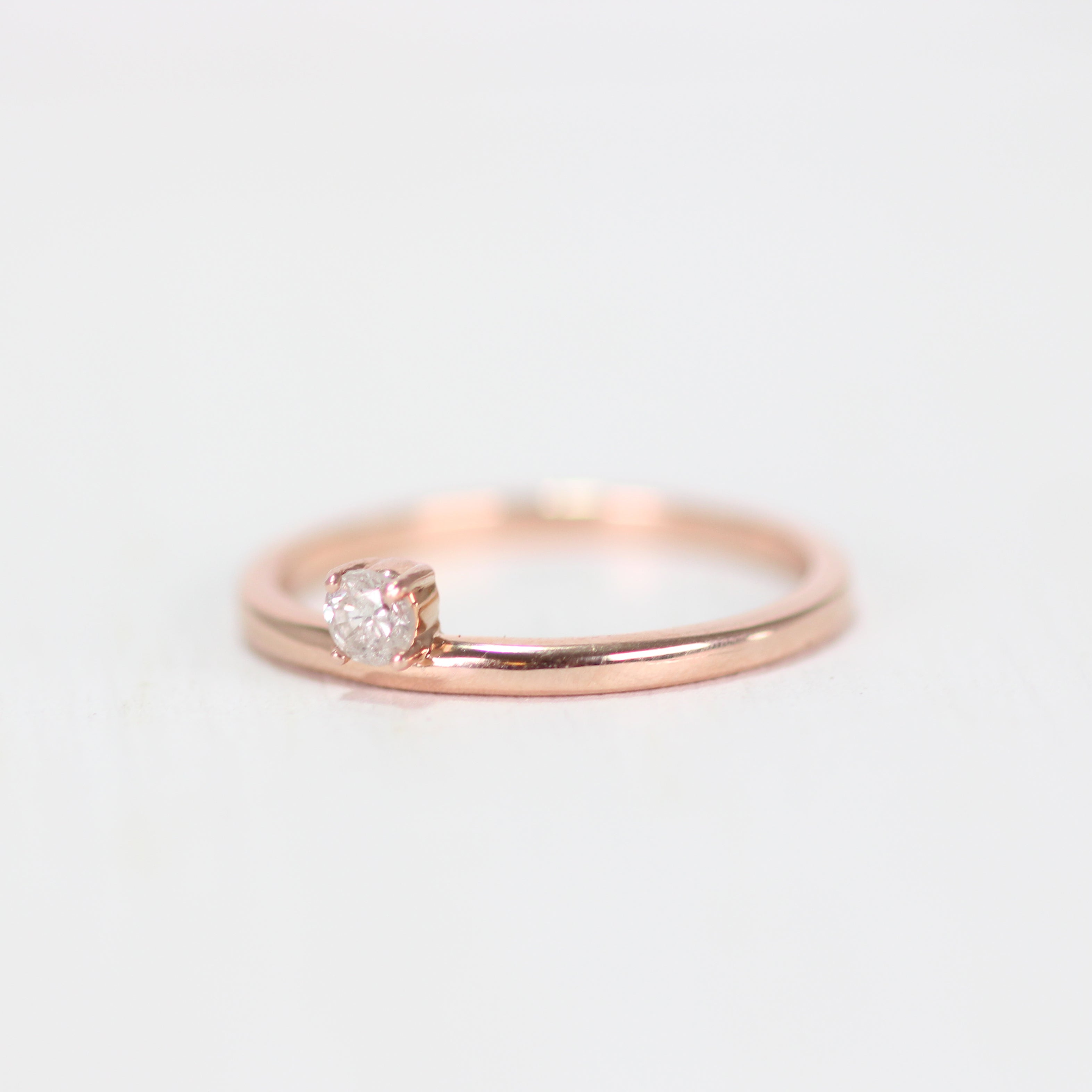 Najeal Ring - Asymmetrical Solitaire Diamond Ring in 14k Rose Gold