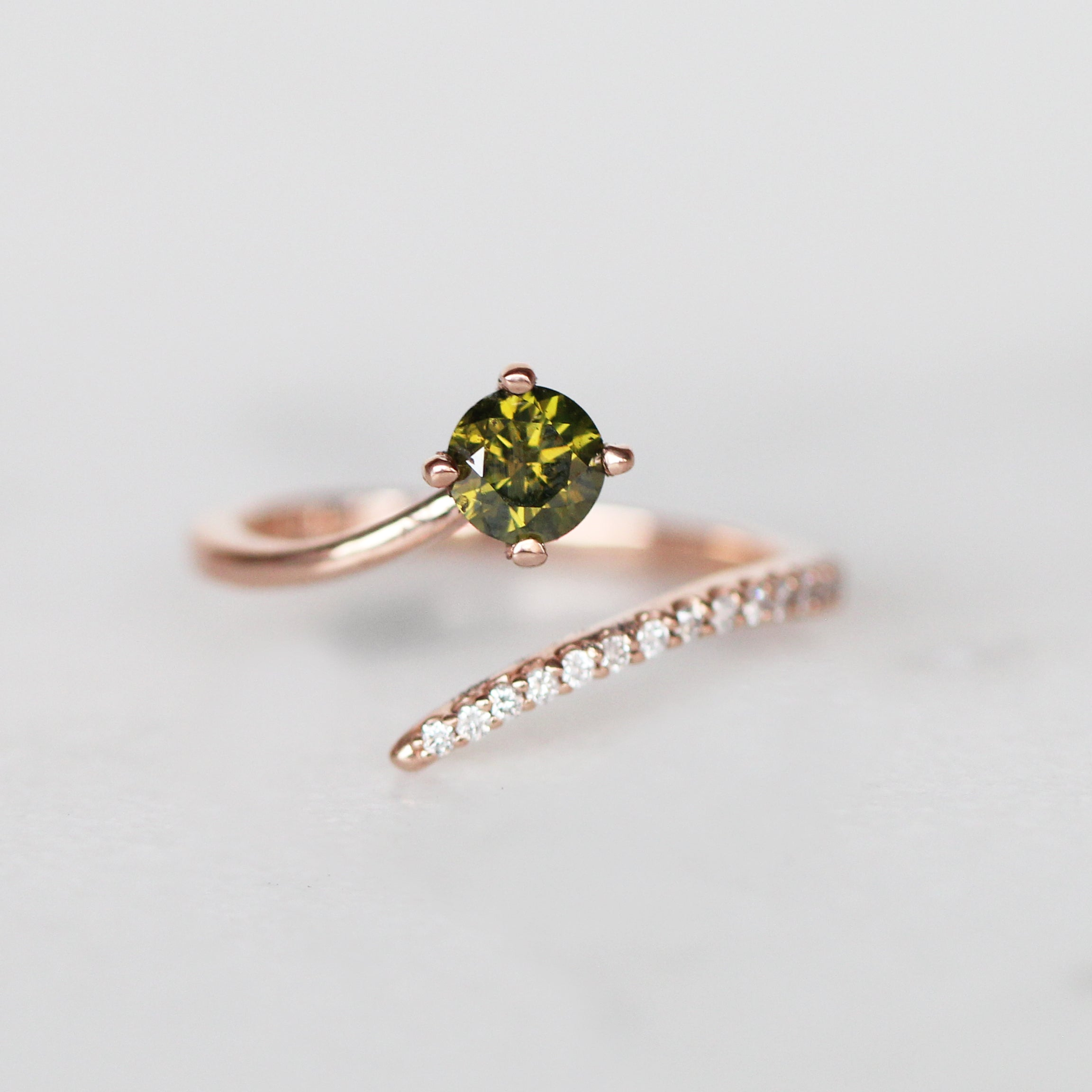 Nebula Ring with .55ct Olive Green Diamond in 10k Rose Gold- Ready to Size and Ship - Salt & Pepper Celestial Diamond Engagement Rings and Wedding Bands  by Midwinter Co.