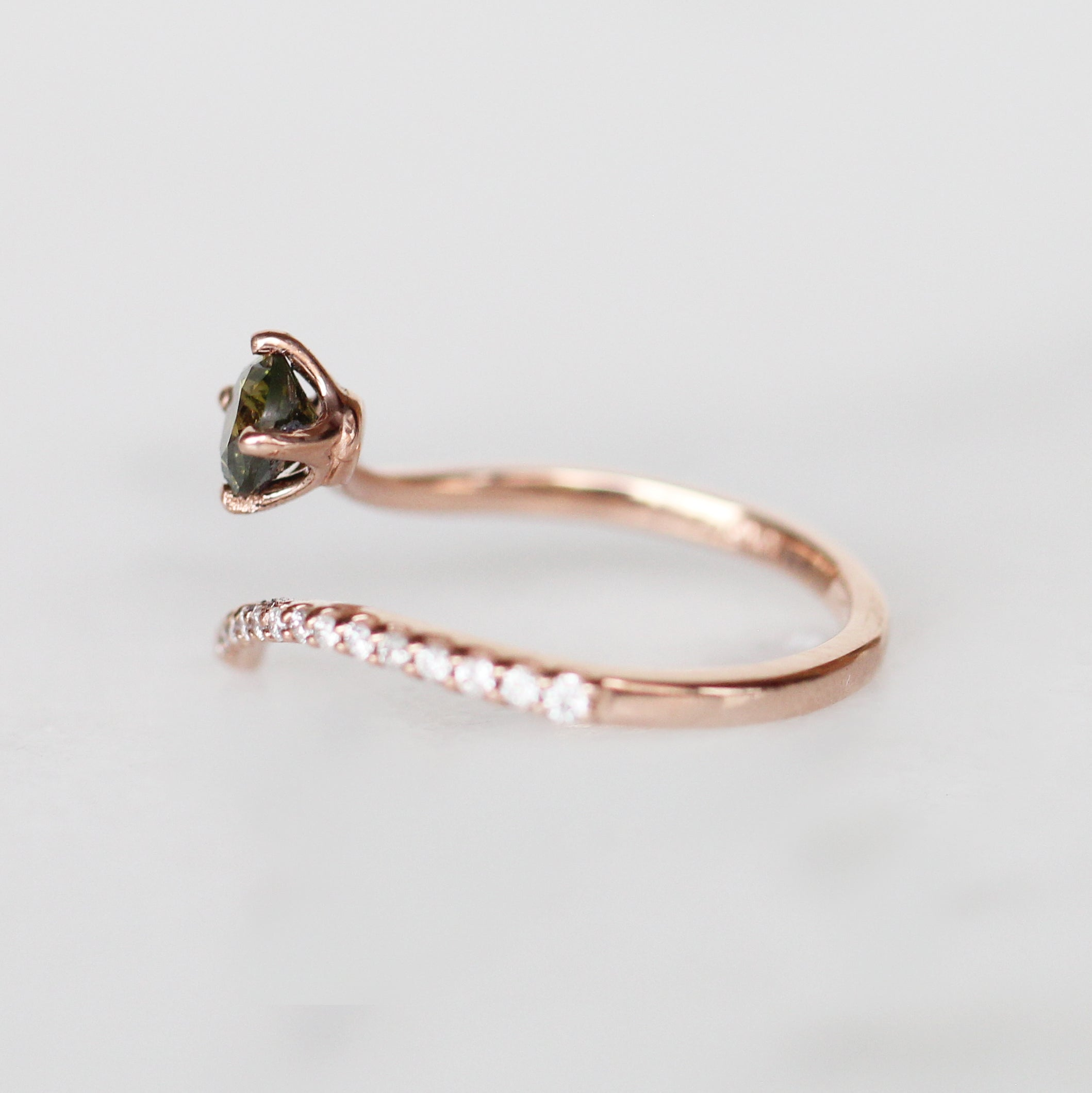 Nebula Ring with .55ct Olive Green Diamond in 10k Rose Gold- Ready to Size and Ship - Celestial Diamonds ® by Midwinter Co.