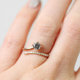 Nebula Ring with Gray Celestial Diamond and White Accents in 10k Rose gold - Ready to Size and Ship Soon