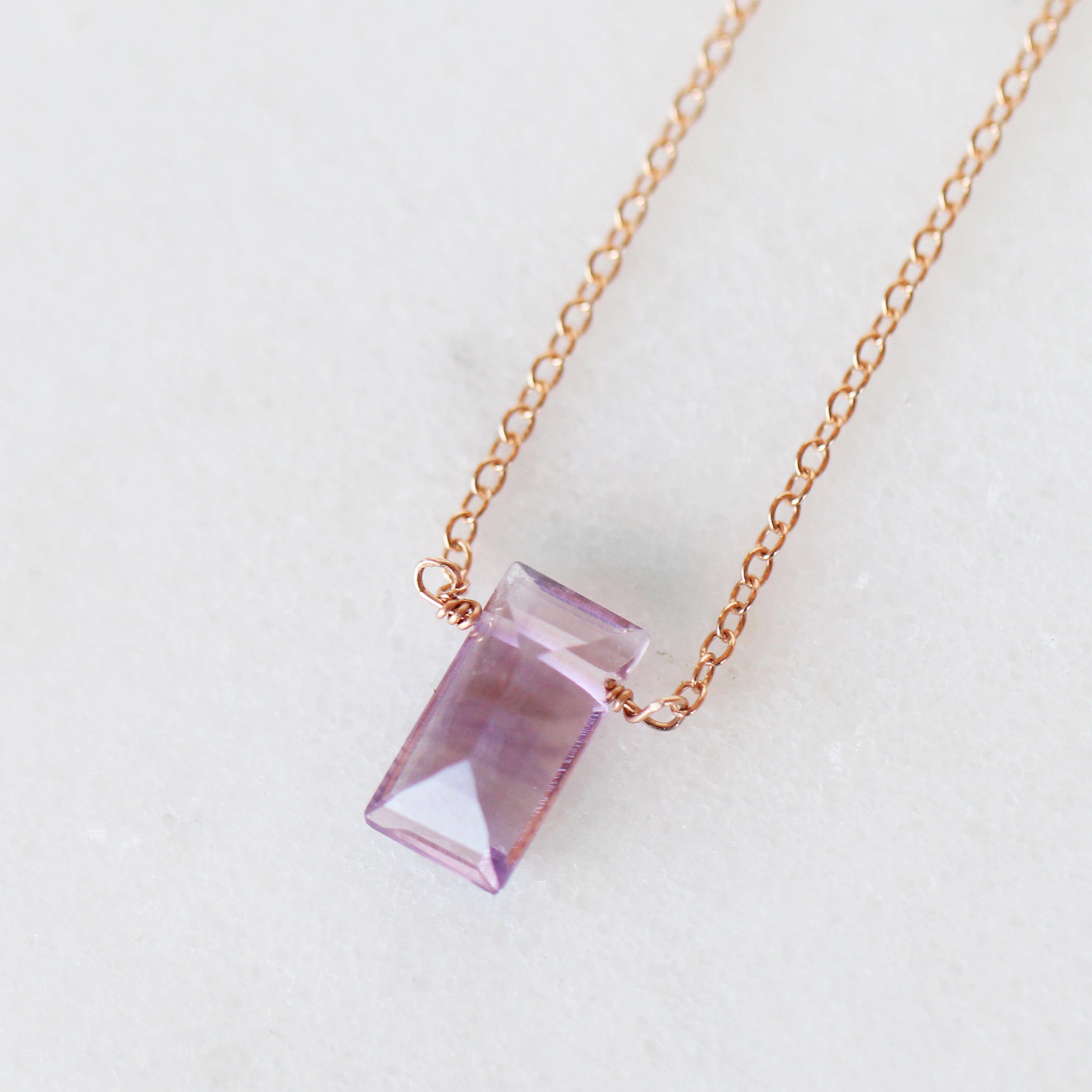 Amethyst Emerald Cut Pendant Necklaces with 14k Rose Gold Fill Chain - Celestial Diamonds ® by Midwinter Co.