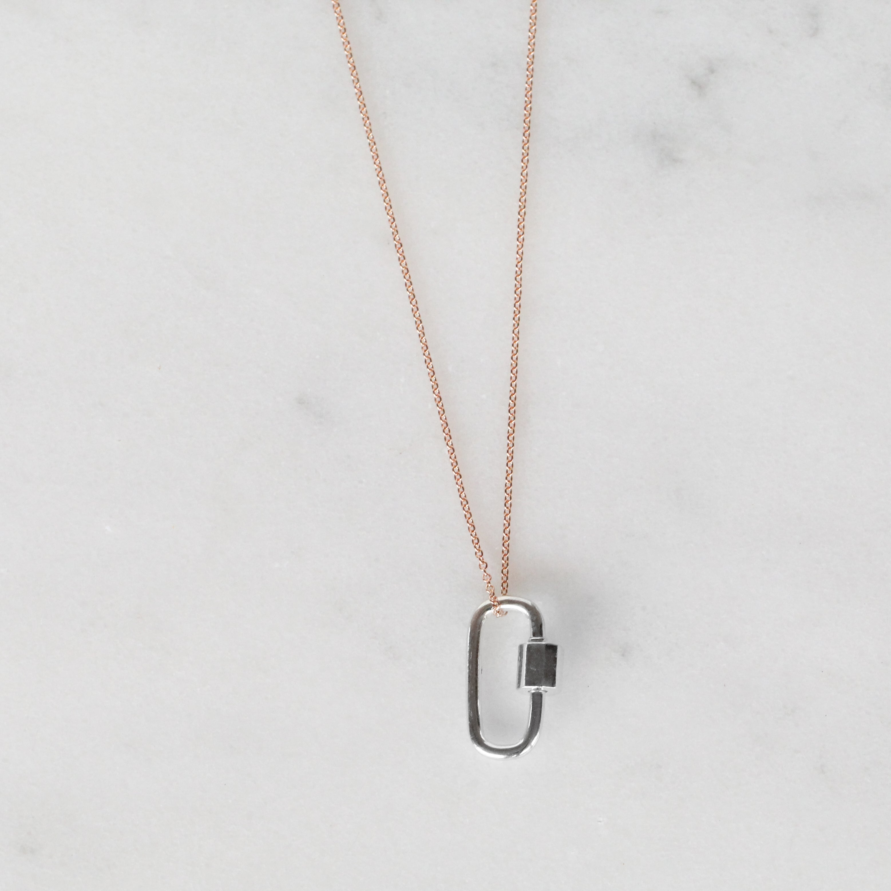 Minimal Cabrera Lock in Sterling Silver - Necklace with 14k Rose Gold Fill Chain - Celestial Diamonds ® by Midwinter Co.