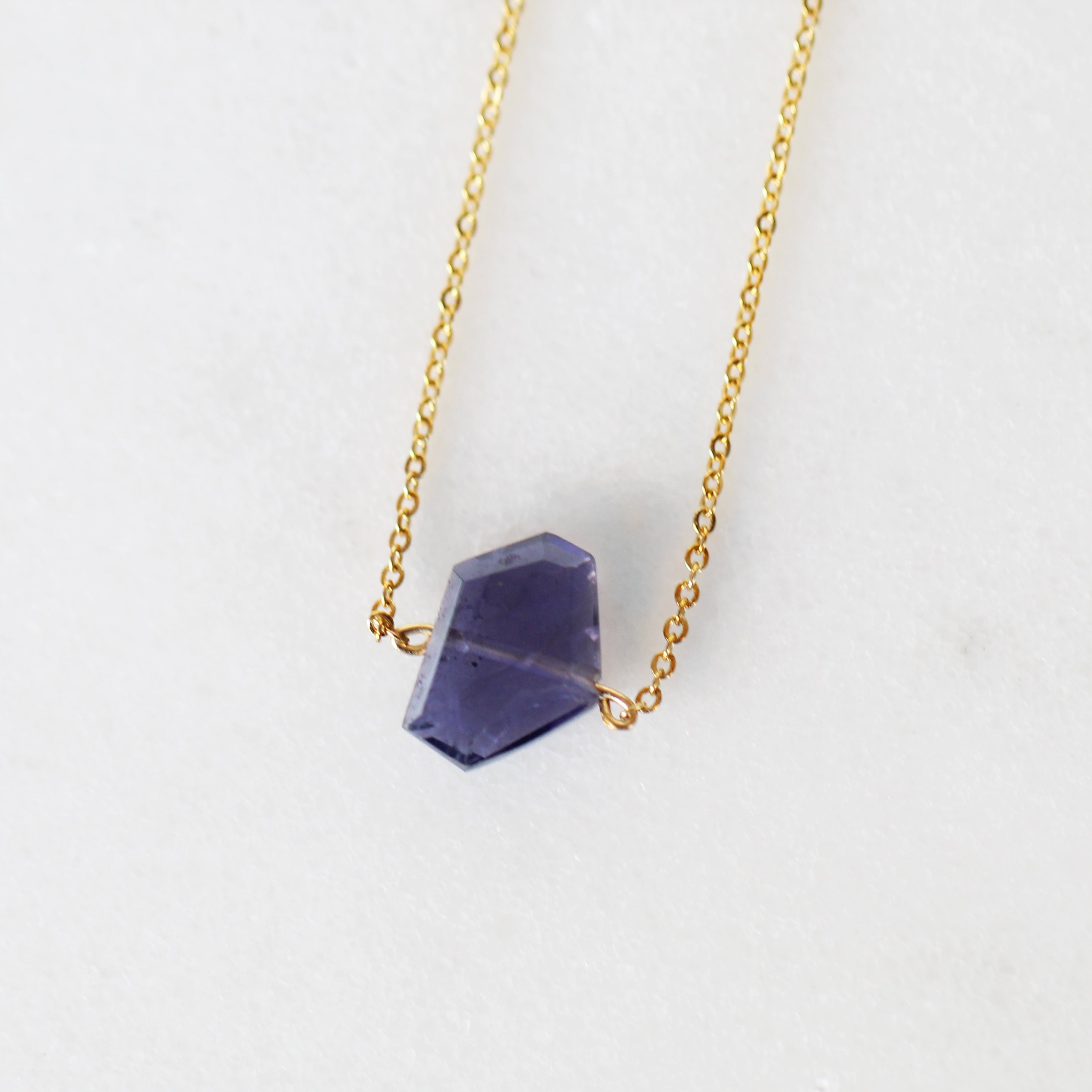 Iolite Pendant Necklace with 14k Yellow Gold Fill Chain - Salt & Pepper Celestial Diamond Engagement Rings and Wedding Bands  by Midwinter Co.