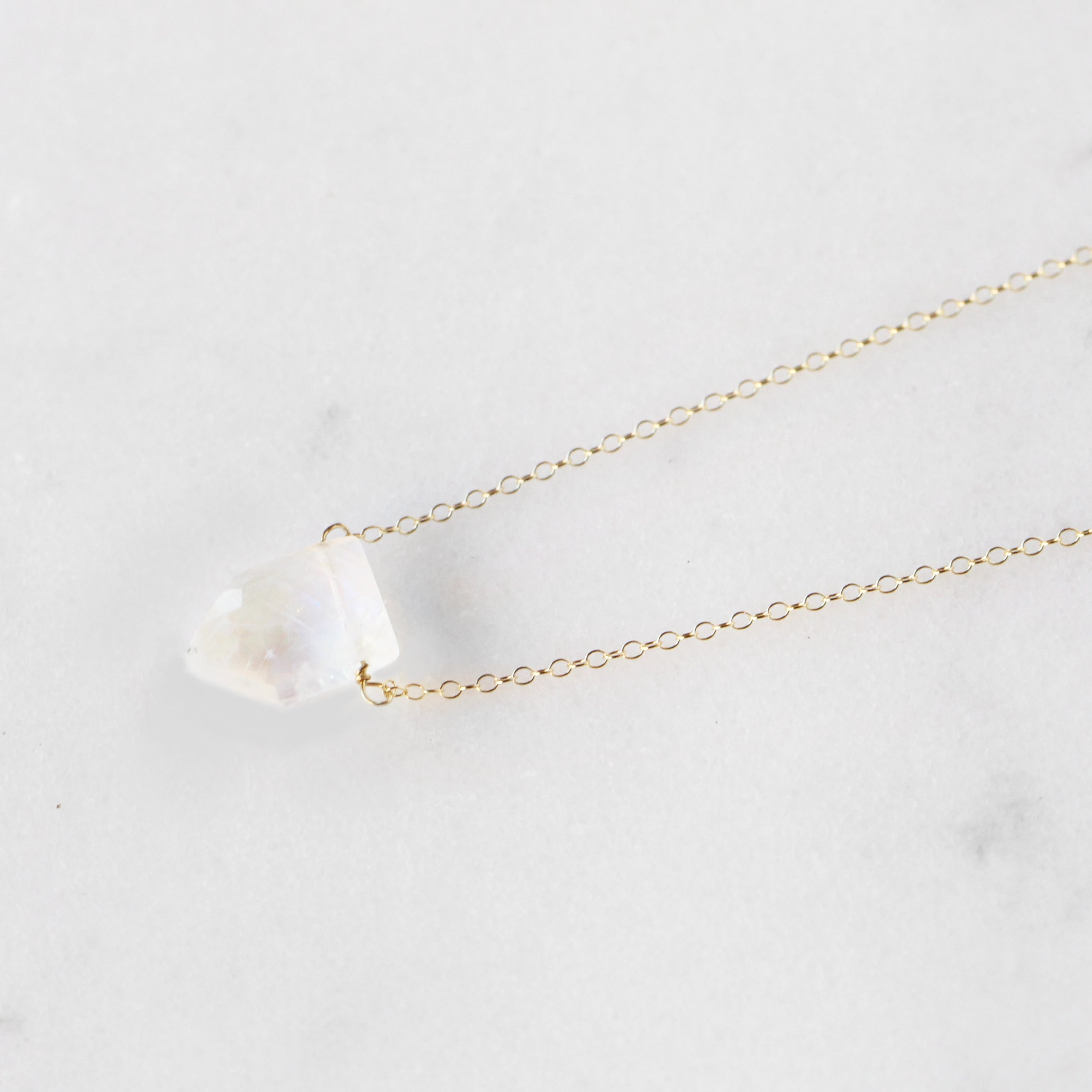Moonstone Geometric Gemstone Pendant Necklace with 14k Gold Fill or Sterling Silver Chain - Midwinter Co. Alternative Bridal Rings and Modern Fine Jewelry