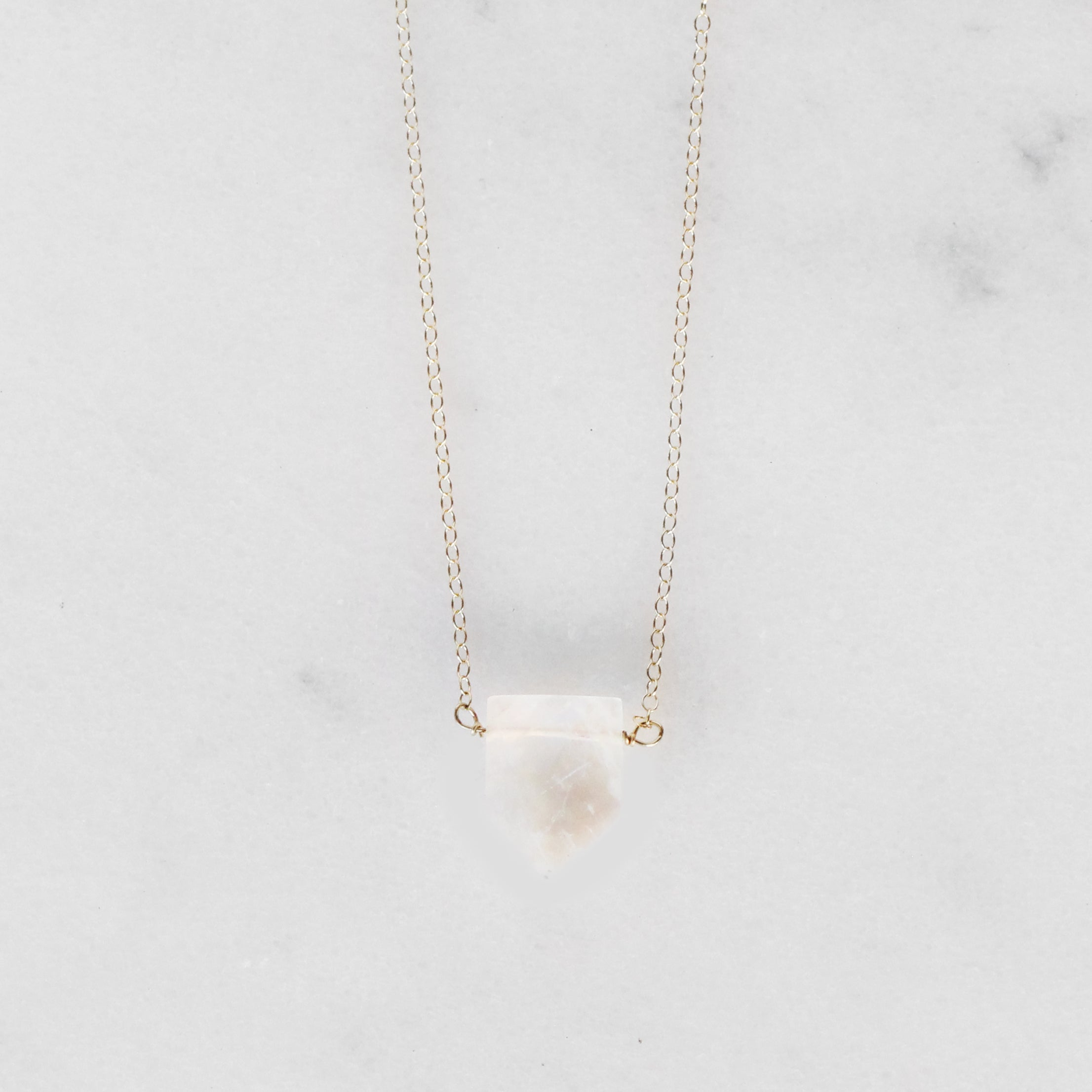 Moonstone Geometric Gemstone Pendant Necklace with 14k Gold Fill or Sterling Silver Chain - Celestial Diamonds ® by Midwinter Co.