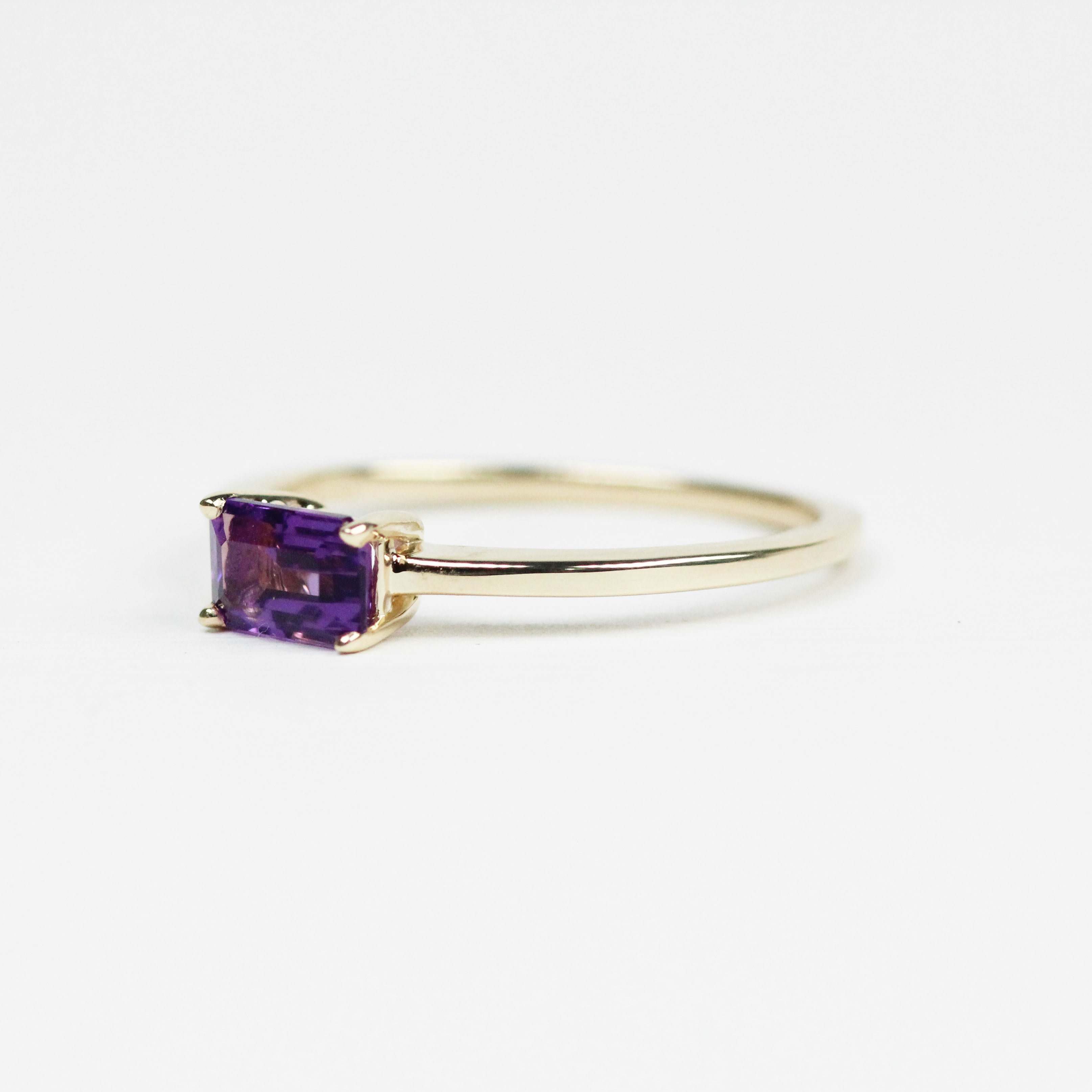 Ruthie Ring with Purple Amethyst - Your choice of metal - Custom - Salt & Pepper Celestial Diamond Engagement Rings and Wedding Bands  by Midwinter Co.