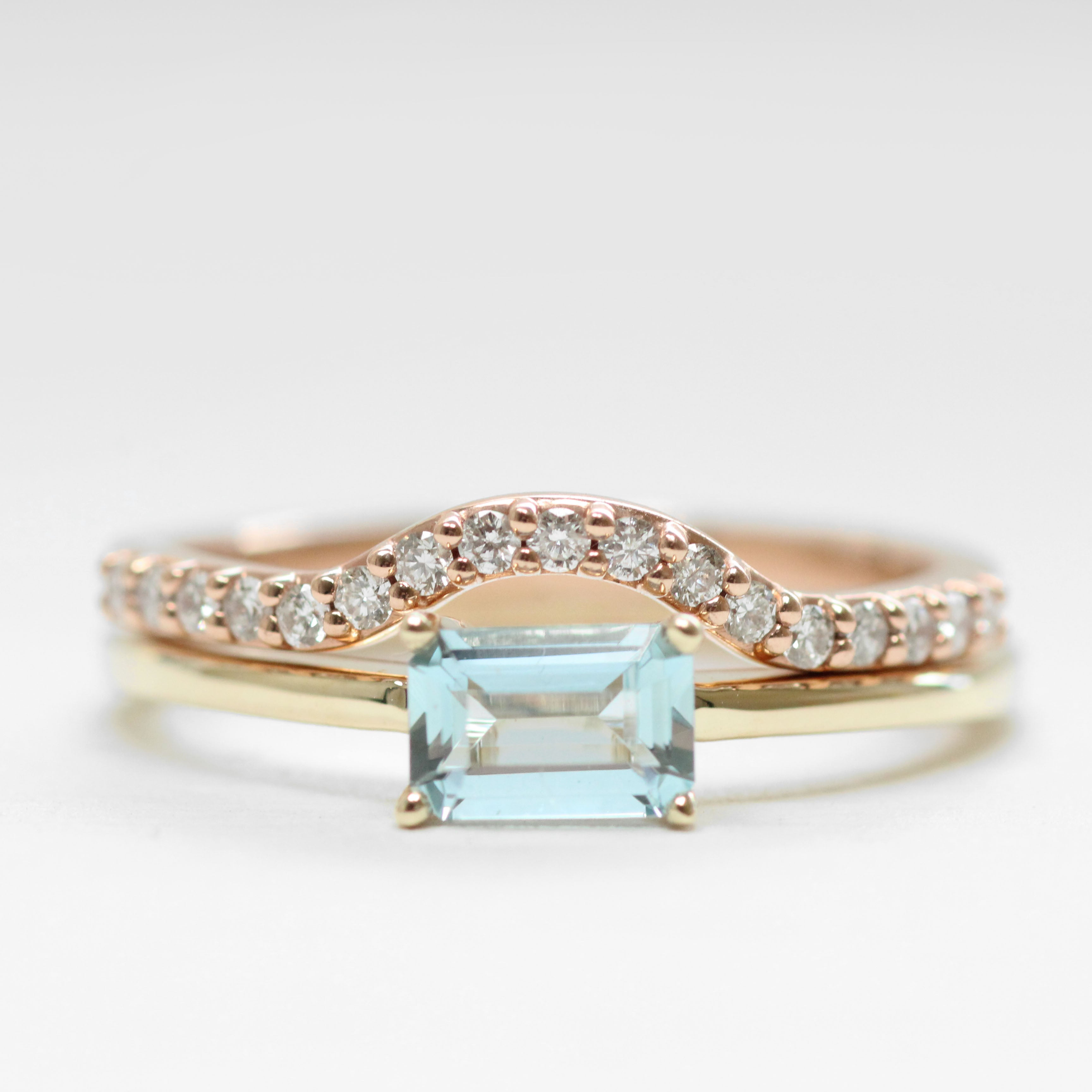 Ruthie Ring with Ice Blue Aquamarine - Your choice of metal - Custom