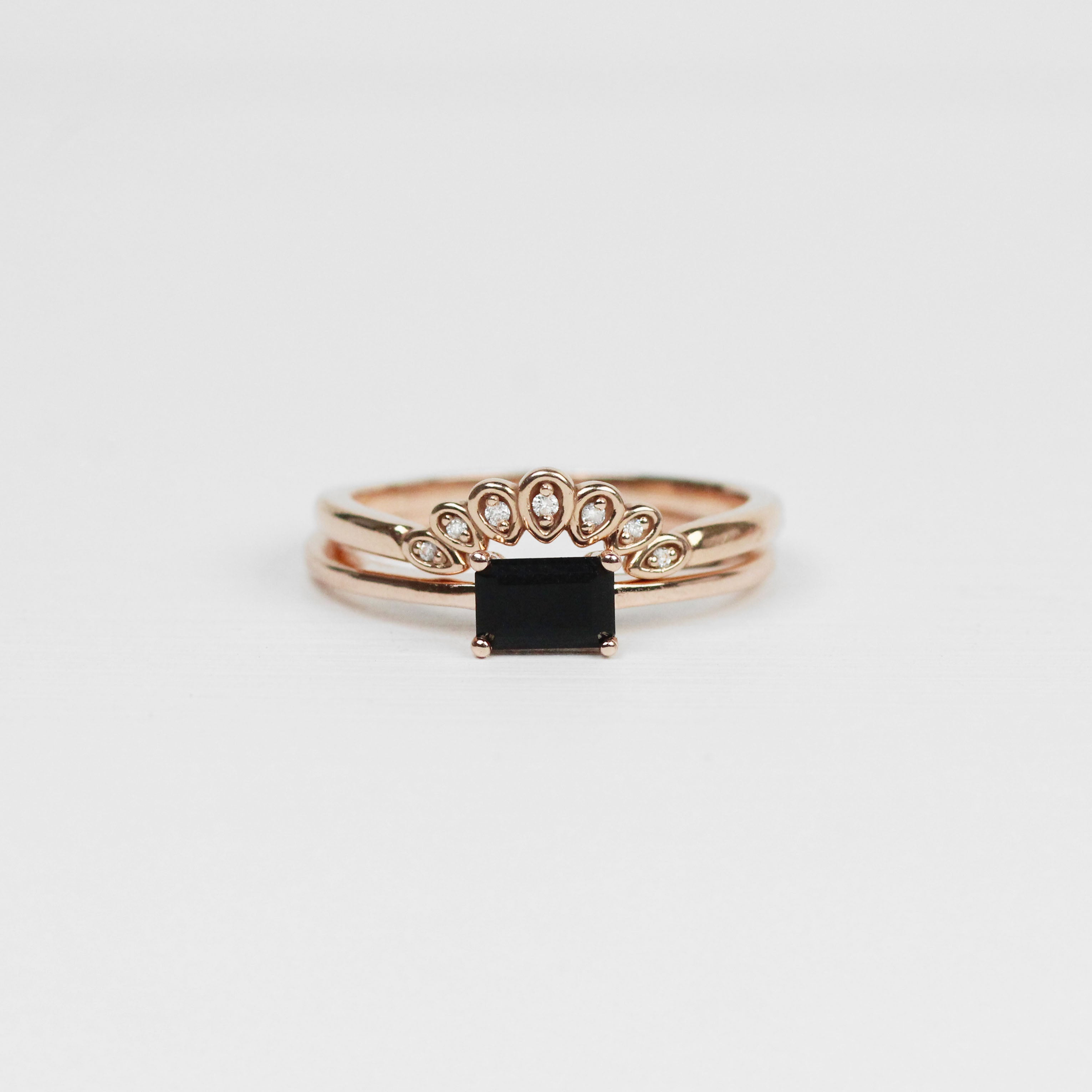 Ruthie Ring with Opaque Black Diamond - Your choice of metal - Custom