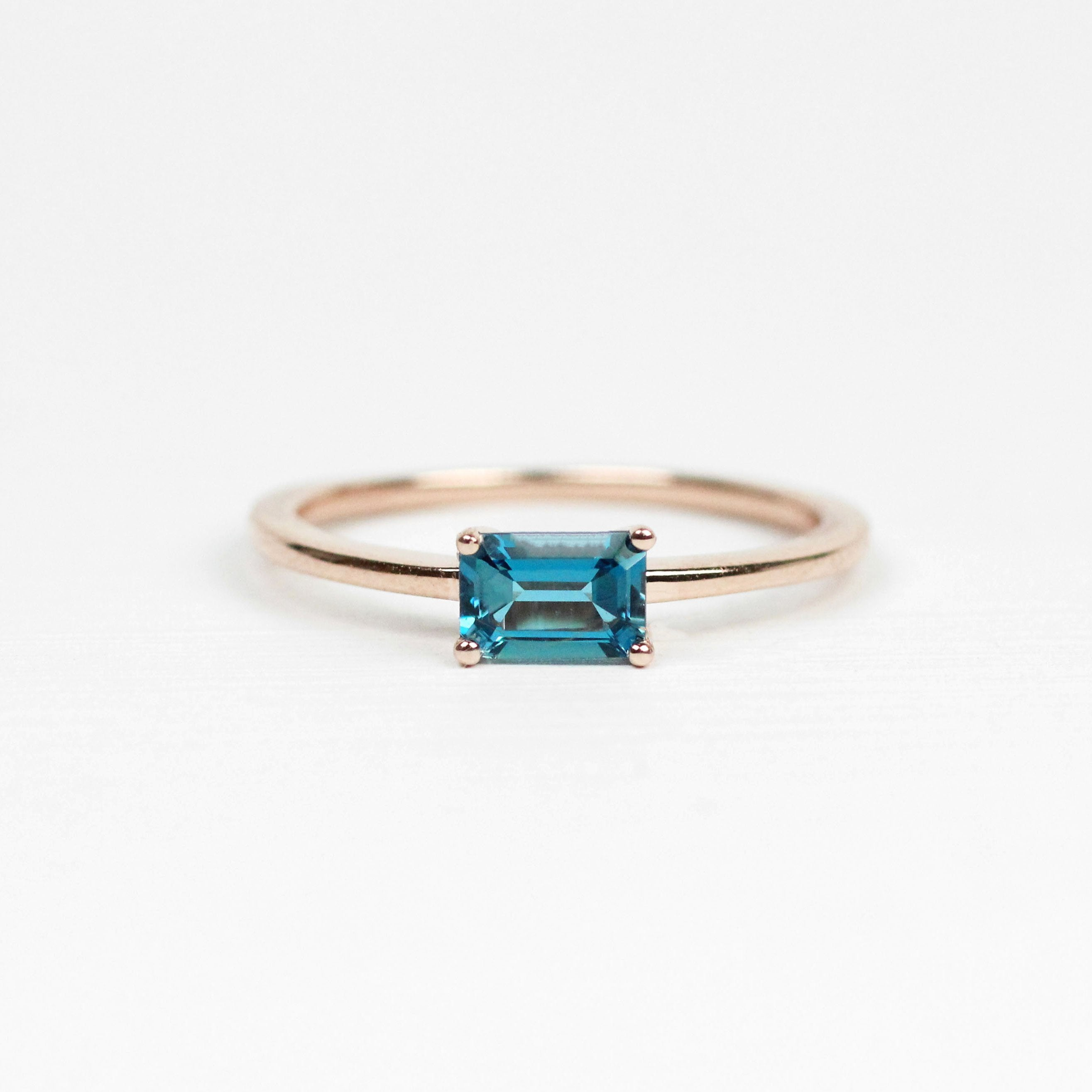 Ruthie Ring with London Blue Topaz - Your choice of metal - Custom - Midwinter Co. Alternative Bridal Rings and Modern Fine Jewelry