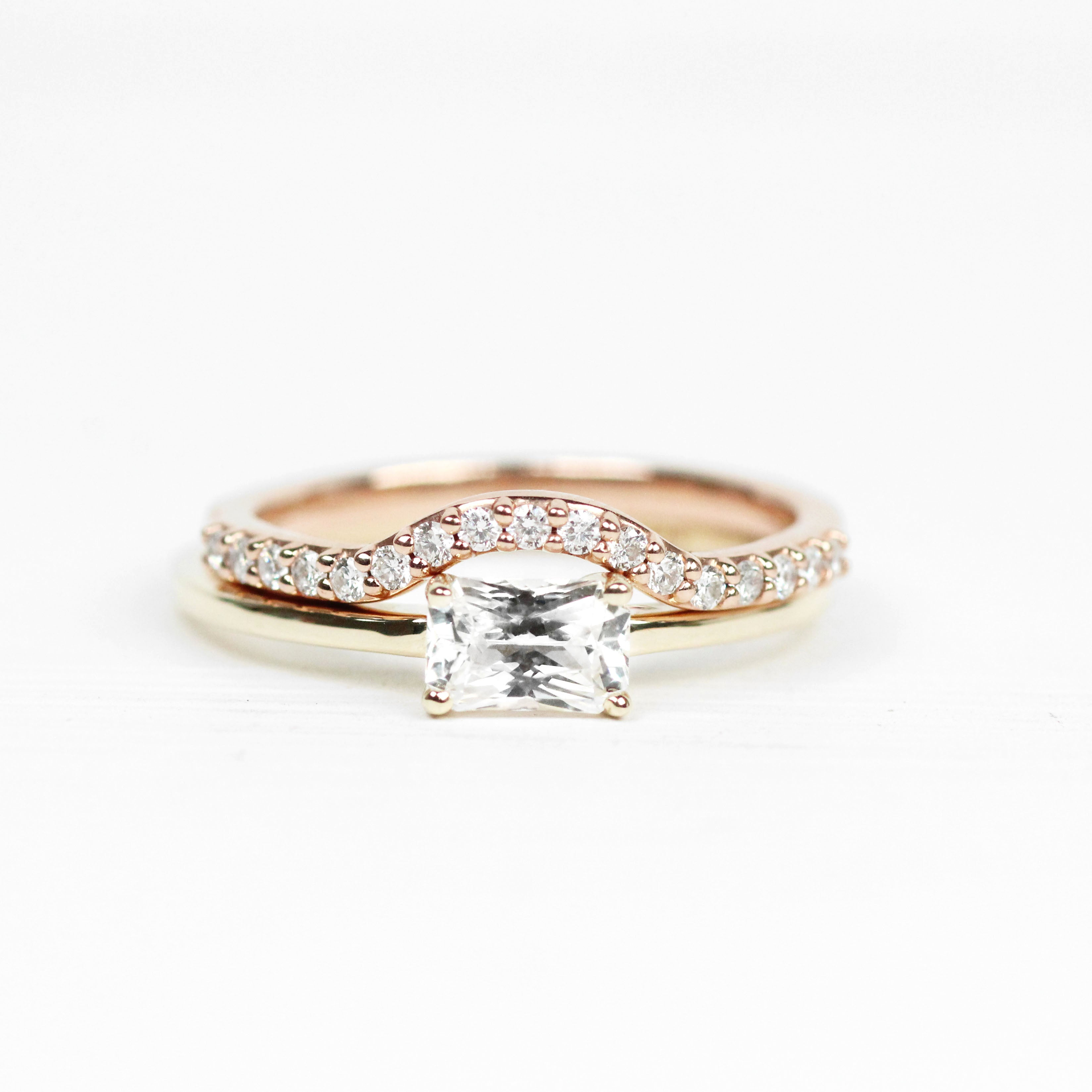 Ruthie Ring with White Sapphire - Your choice of metal - Custom - Salt & Pepper Celestial Diamond Engagement Rings and Wedding Bands  by Midwinter Co.