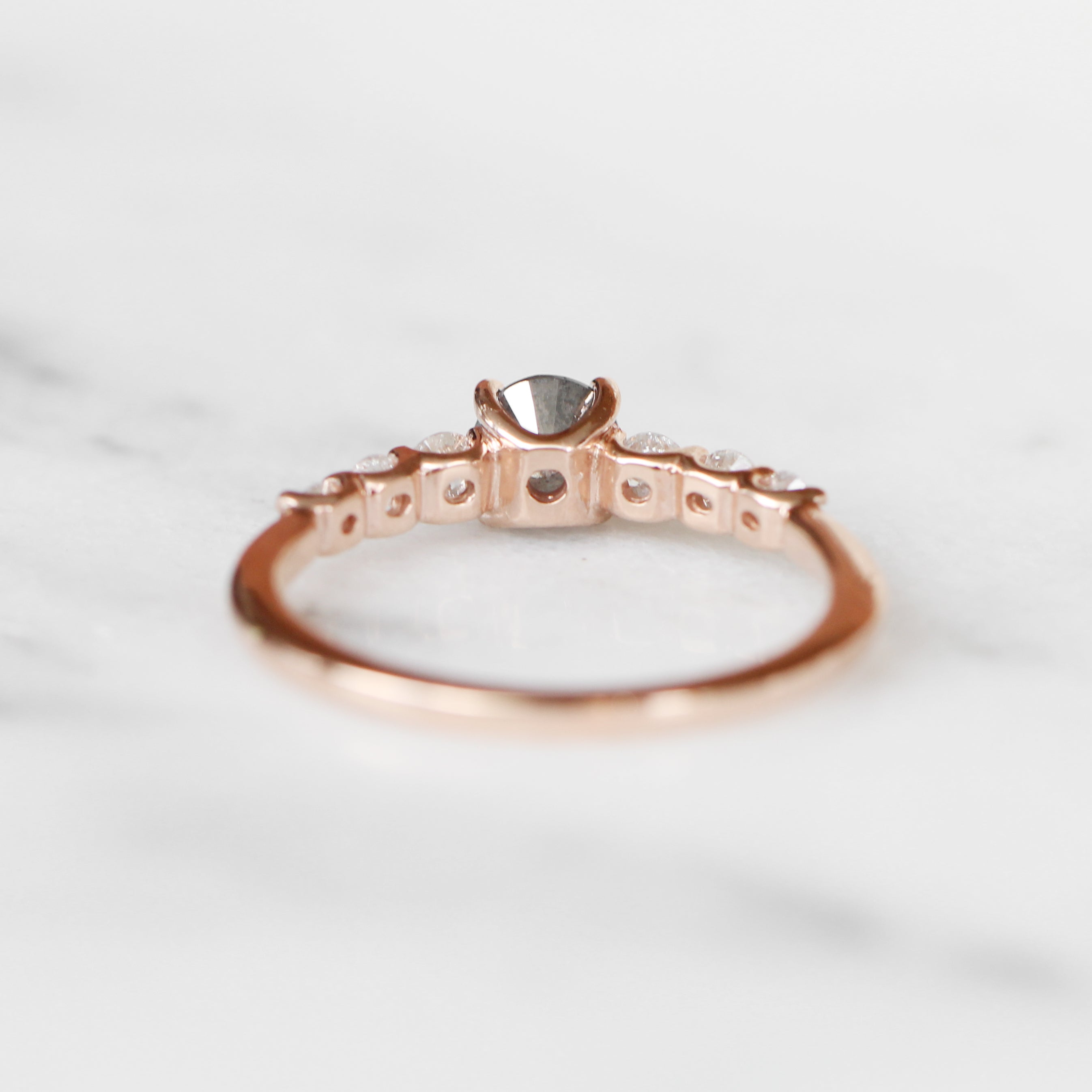 Nina ring with .56 carat round celestial diamond and diamonds in 10k rose gold - ready to size and ship - Celestial Diamonds ® by Midwinter Co.