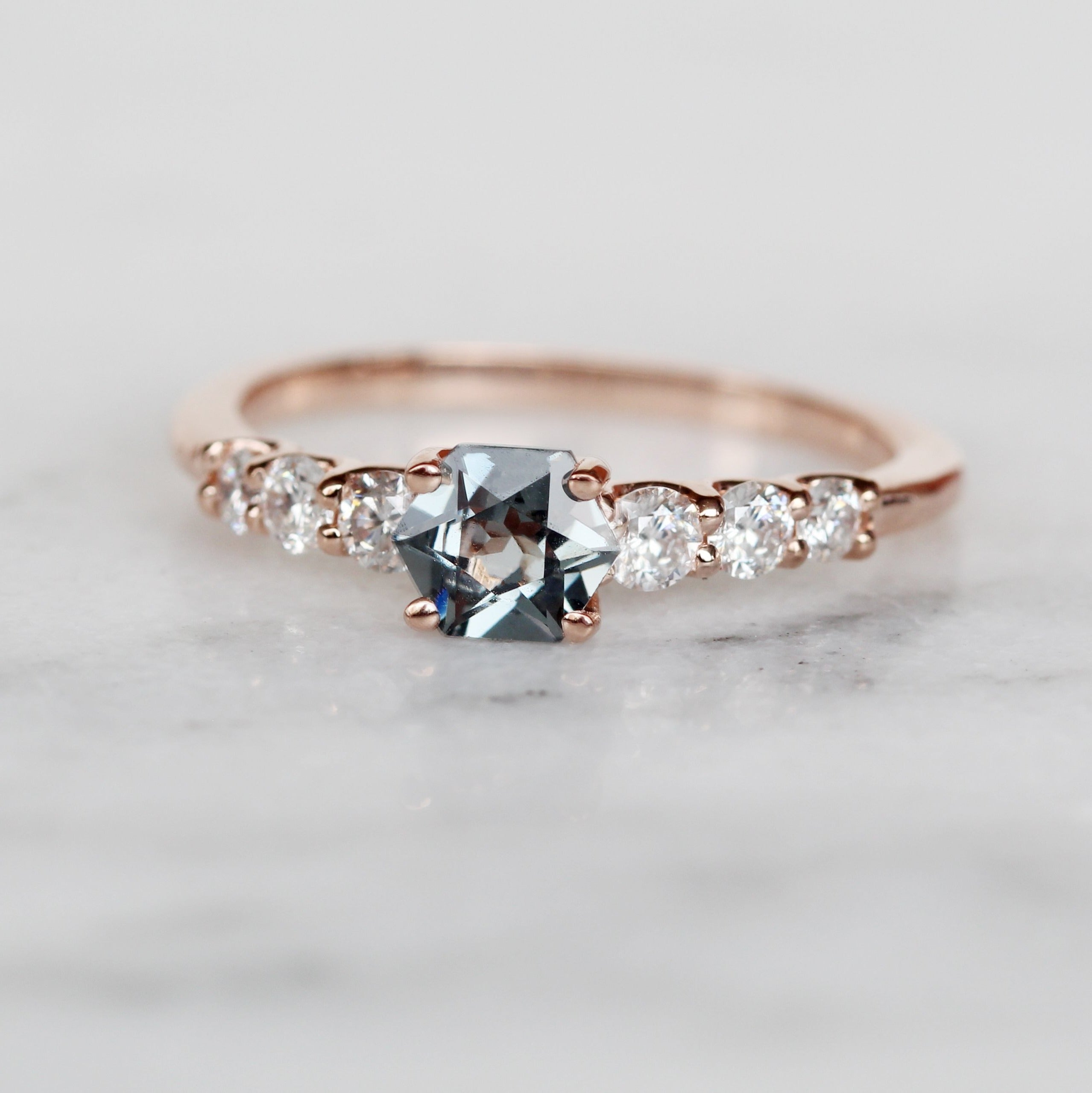 Nina ring with .64 carat hexagon spinel and diamonds in 10k rose gold - ready to size and ship - Salt & Pepper Celestial Diamond Engagement Rings and Wedding Bands  by Midwinter Co.