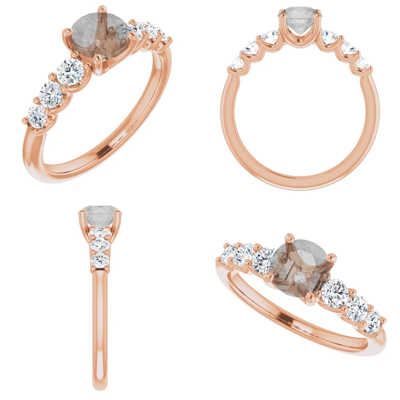 Nina Setting - Salt & Pepper Celestial Diamond Engagement Rings and Wedding Bands  by Midwinter Co.