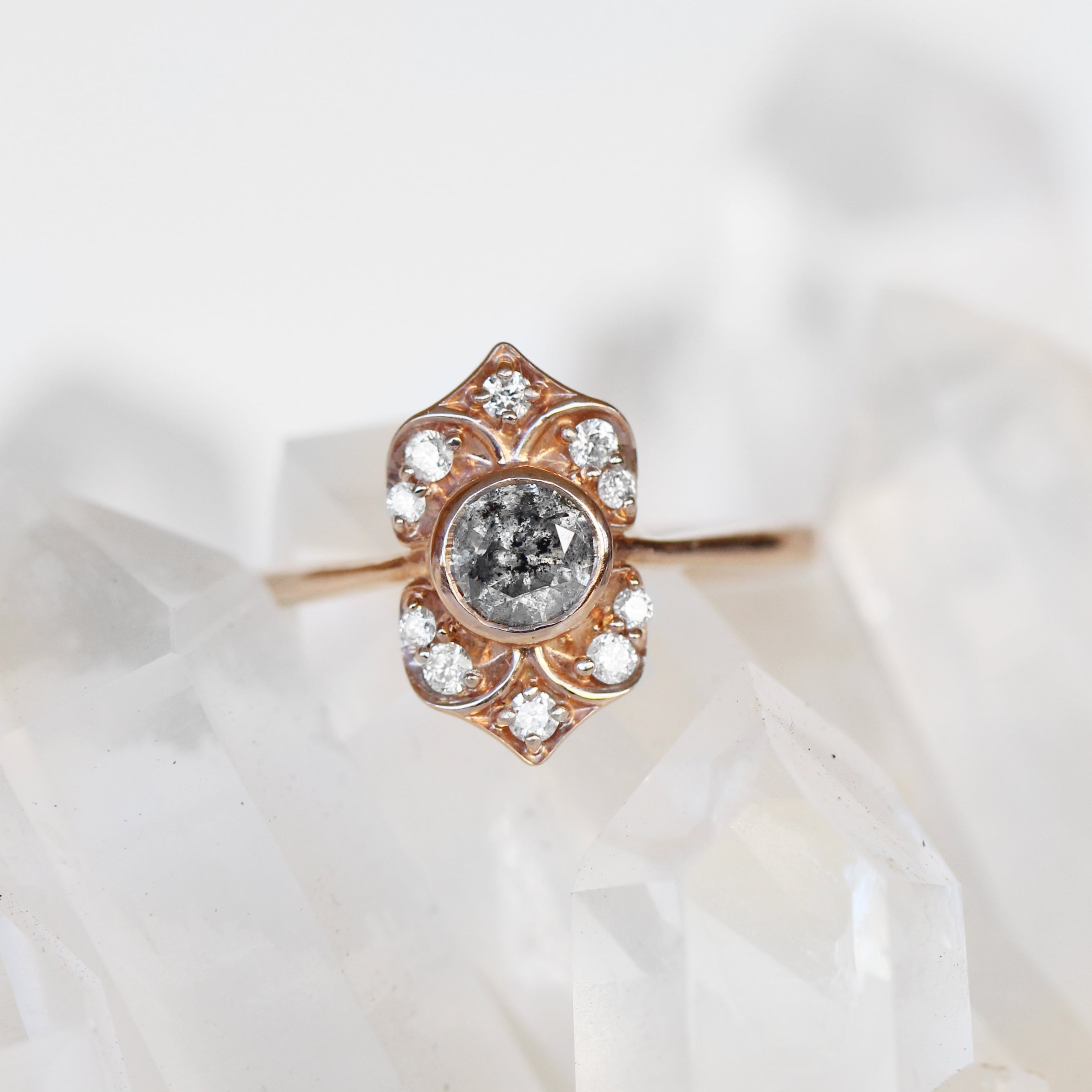 Nola Ring with Celestial Gray Diamond in 10k Rose Gold - Ready to Size and Ship - Salt & Pepper Celestial Diamond Engagement Rings and Wedding Bands  by Midwinter Co.
