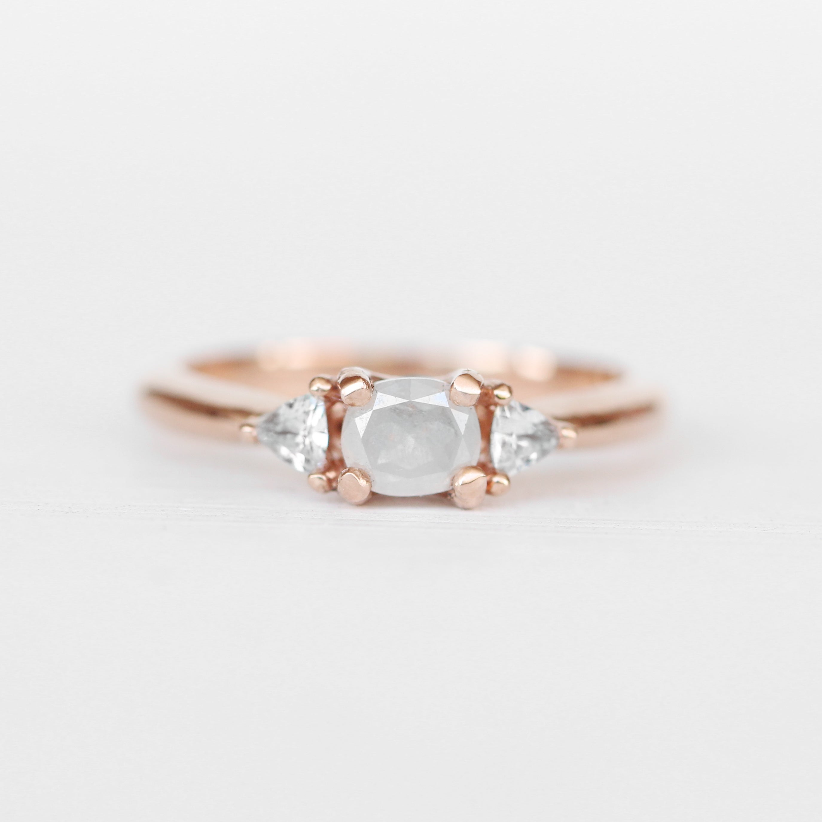 Nolen Ring with a White Misty Diamond and White Sapphires in 14k Rose Gold - Ready to Size and Ship - Celestial Diamonds ® by Midwinter Co.
