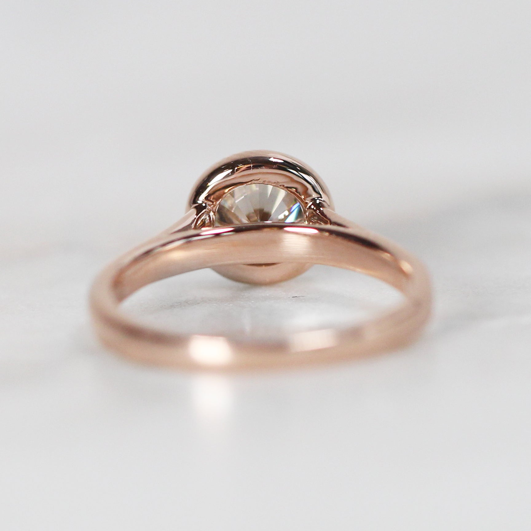 Octavia Ring with .74ct White Moissanite in 10k Rose Gold - Ready to Size and Ship - Celestial Diamonds ® by Midwinter Co.