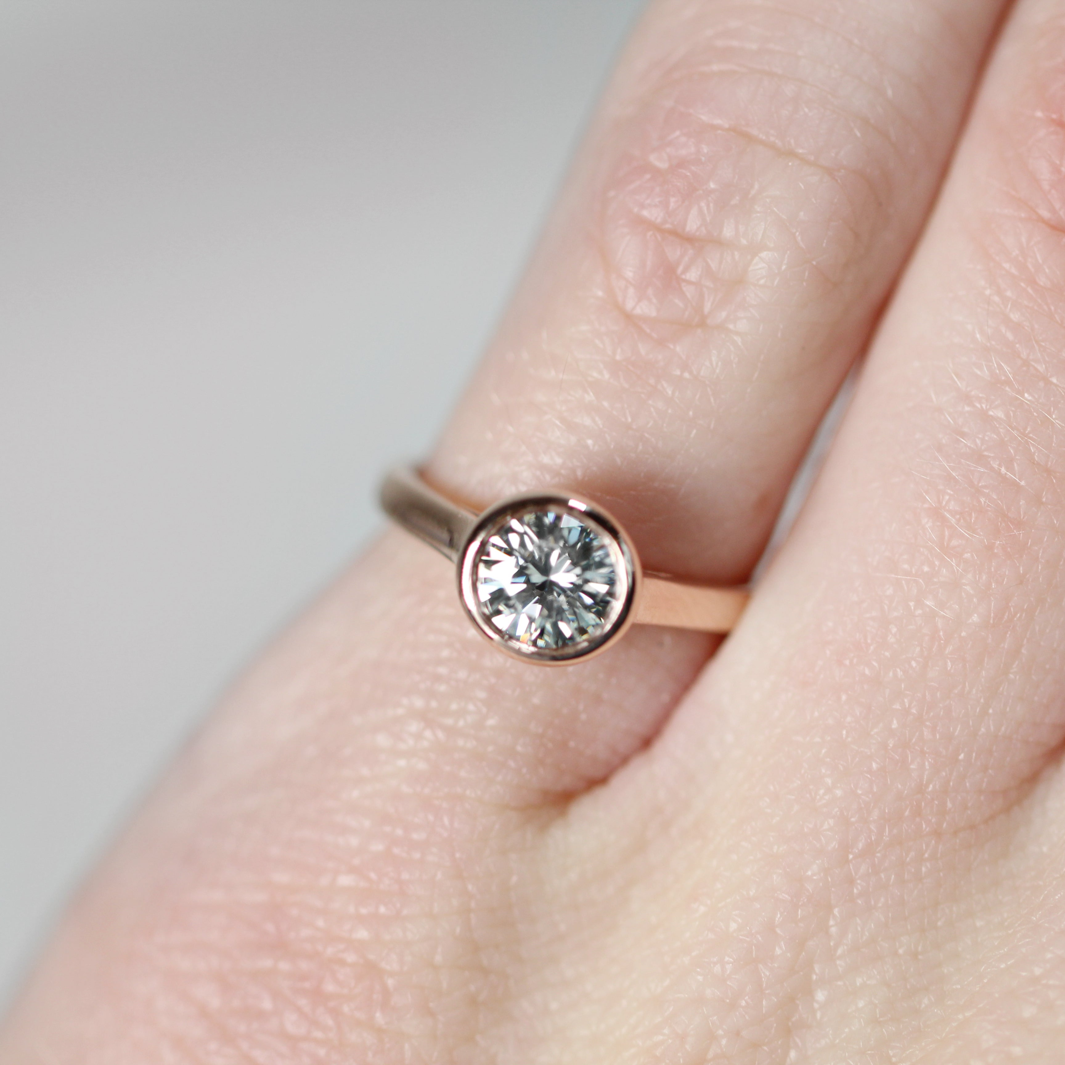 Octavia Ring with .74ct White Moissanite in 10k Rose Gold - Ready to Size and Ship - Midwinter Co. Alternative Bridal Rings and Modern Fine Jewelry