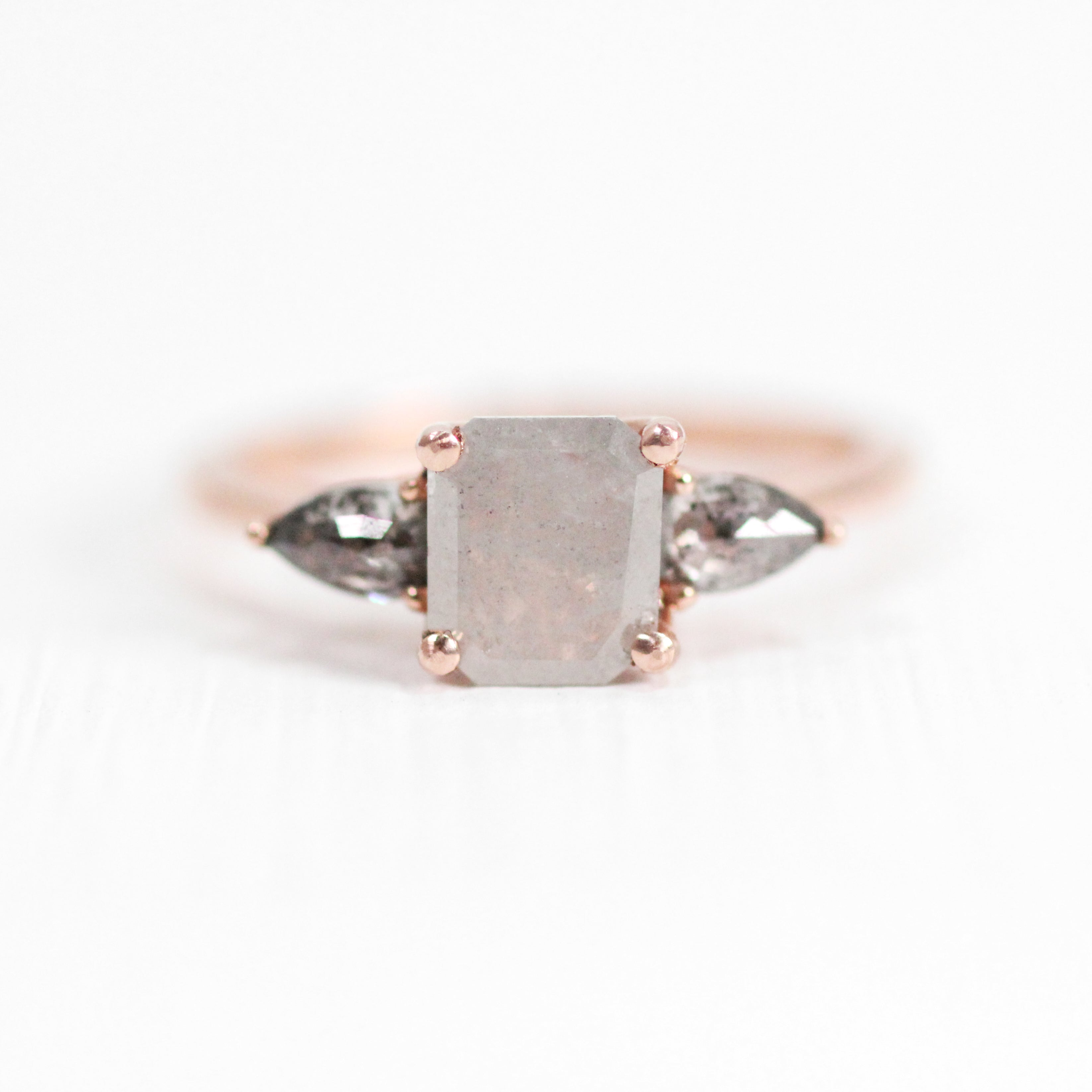Oleander Ring with Misty Light Gray Diamond and accented gray diamonds in 14k Rose Gold - Ready to Size and Ship