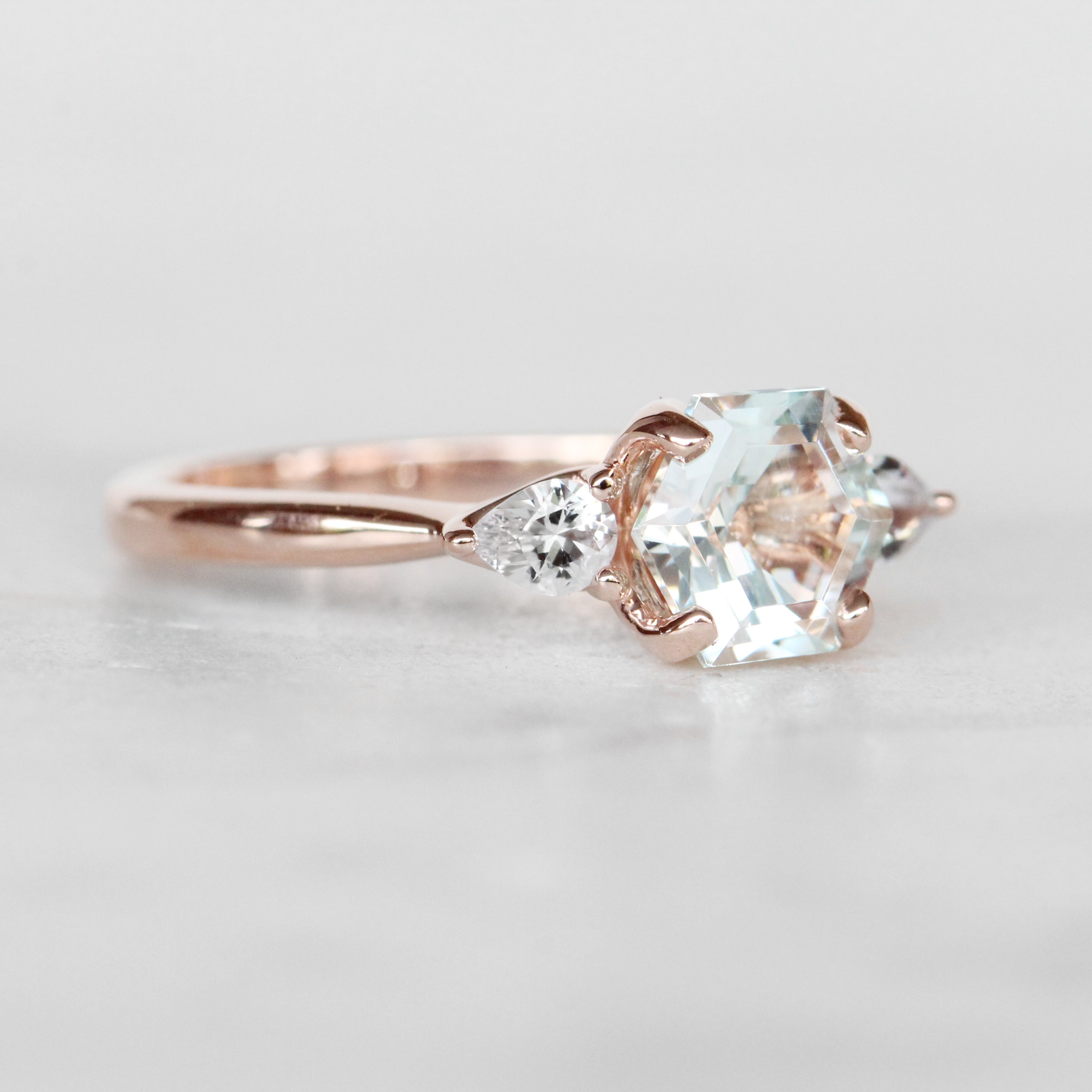 Oleander ring with hexagon Aquamarine and white Sapphire in 10k rose gold - ready to size and ship - Salt & Pepper Celestial Diamond Engagement Rings and Wedding Bands  by Midwinter Co.