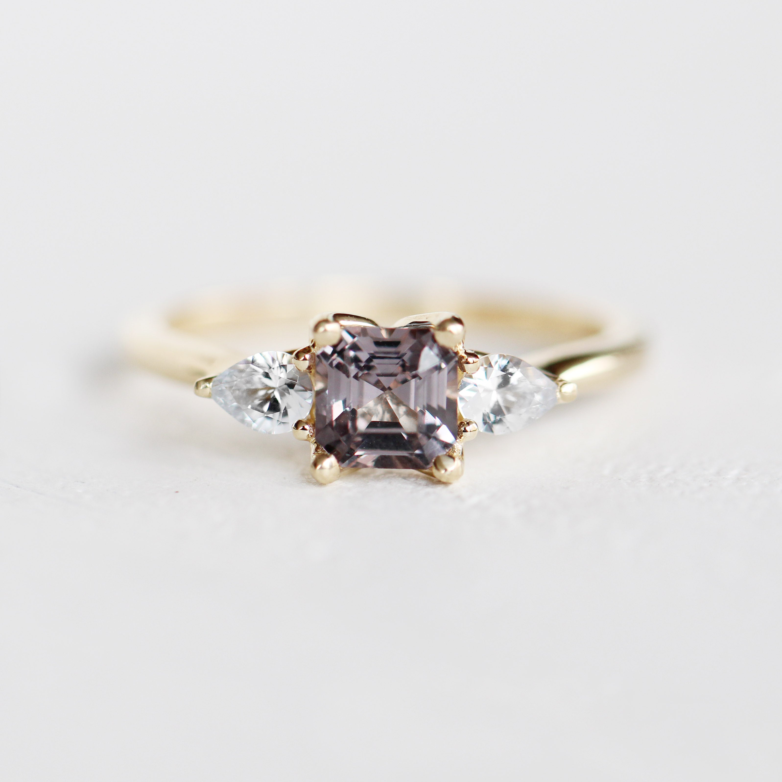 Oleander Setting with an Asscher Cut Spinel and White Sapphire in 14k Yellow Gold - Ready to Size and Ship