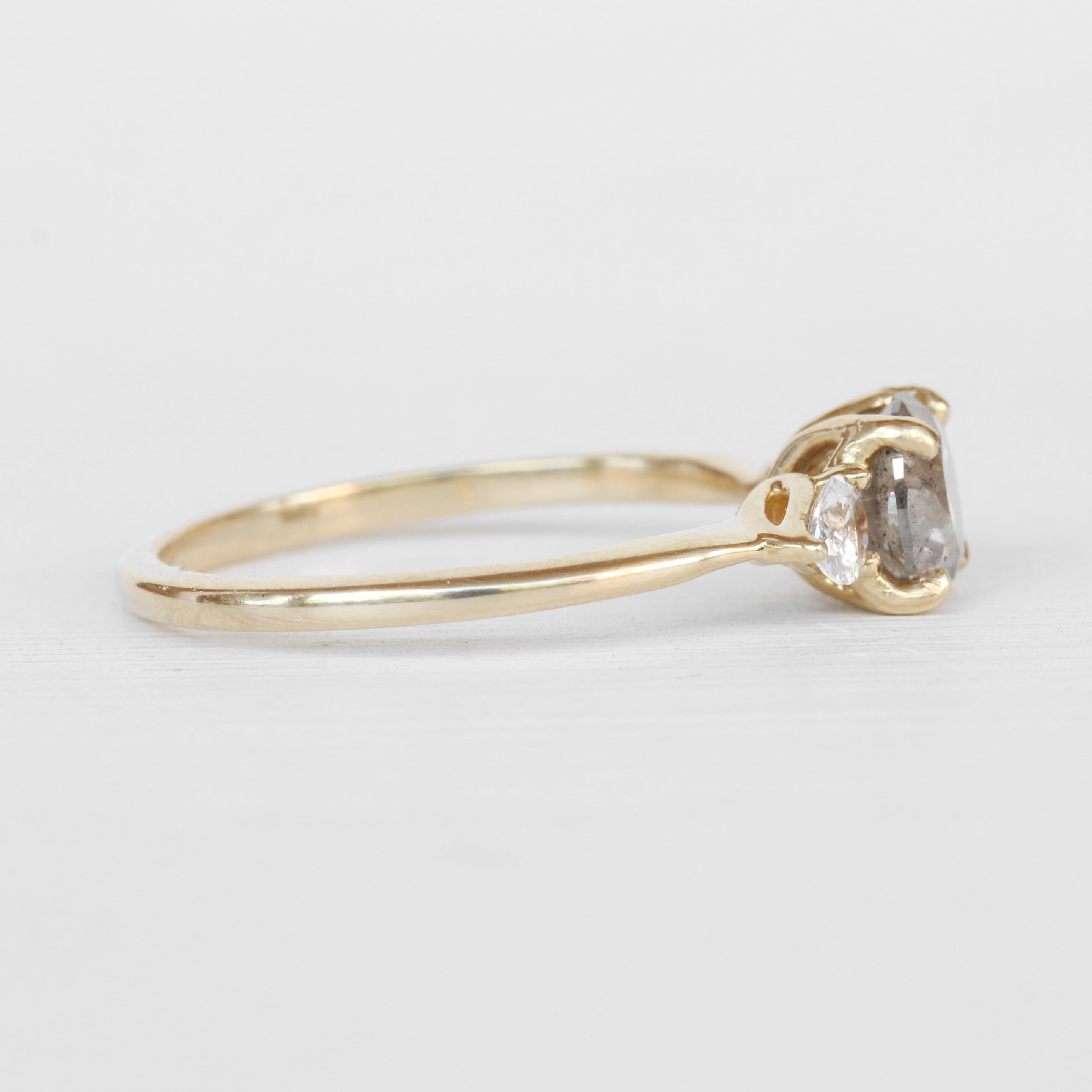 Oleander Ring with a Celestial Diamond and White Sapphires in 14k Yellow Gold - Ready to Size and Ship
