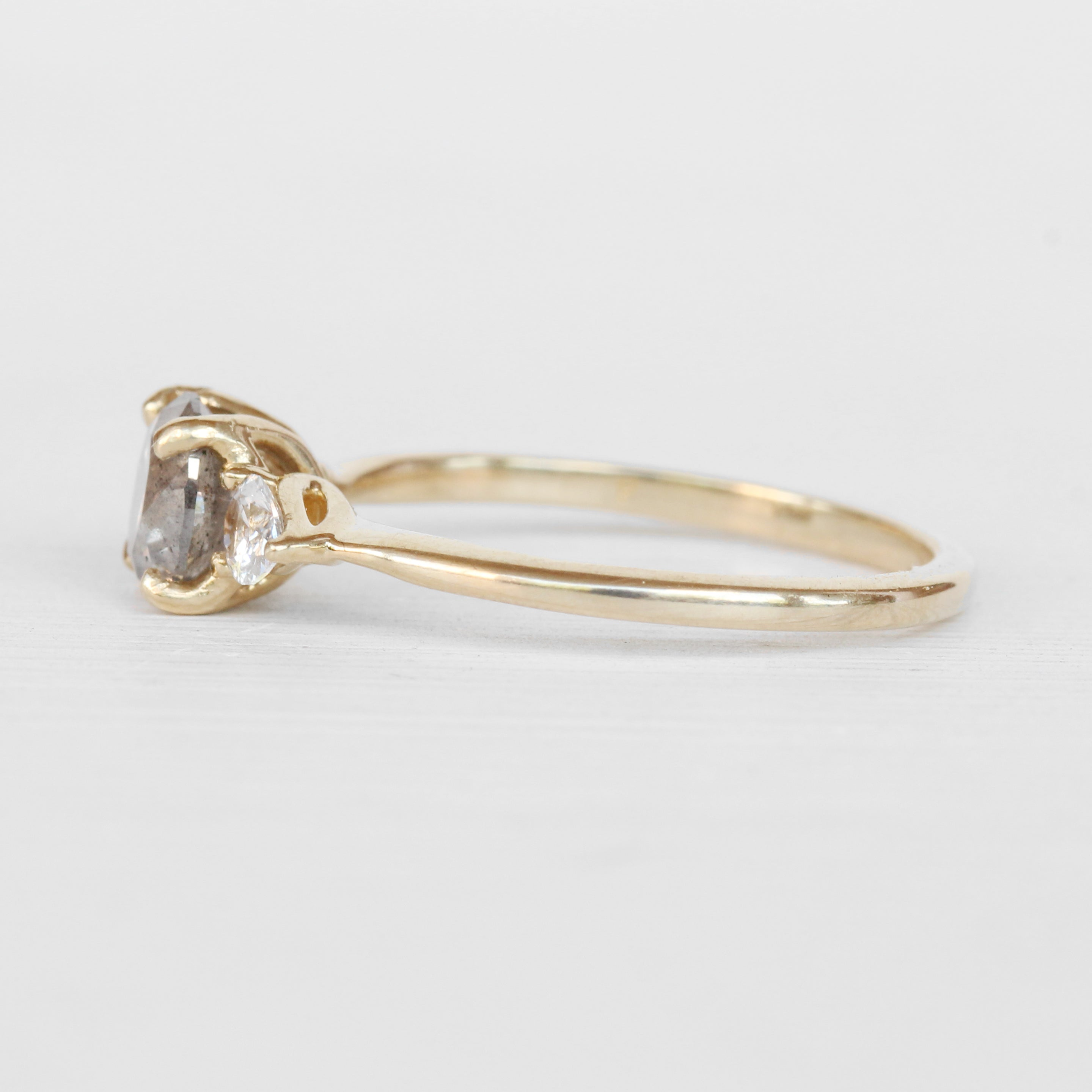 Oleander Ring with a Celestial Diamond and White Sapphires in 14k Yellow Gold - Ready to Size and Ship - Celestial Diamonds ® by Midwinter Co.