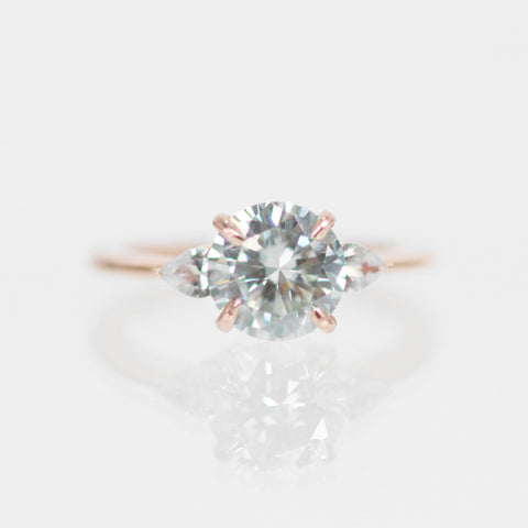 Oleander Ring with an Ice Blue Moissanite and White Sapphires in 10k Rose Gold - Ready to size and ship