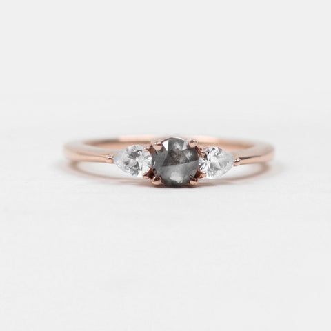 Oleander Ring with Celestial Dark Gray Diamond and Sapphire Accents - 14k Rose Gold - Ready to ship soon